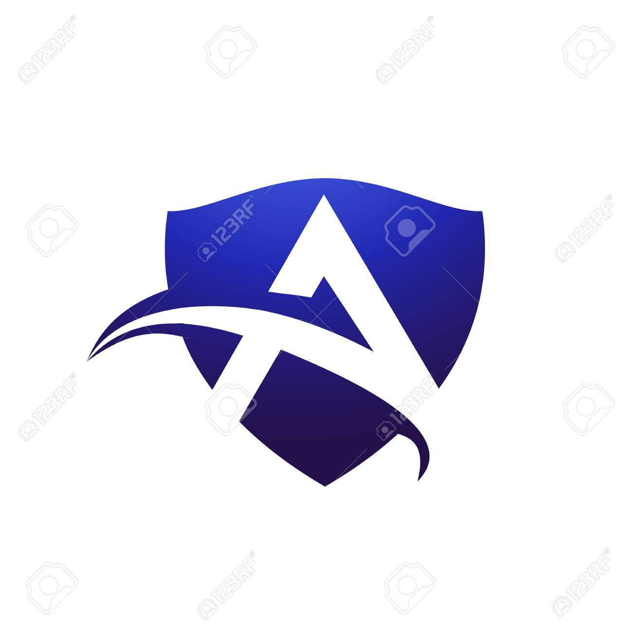 Letter A Shield Logo Design Concept Template Royalty Free Cliparts ...