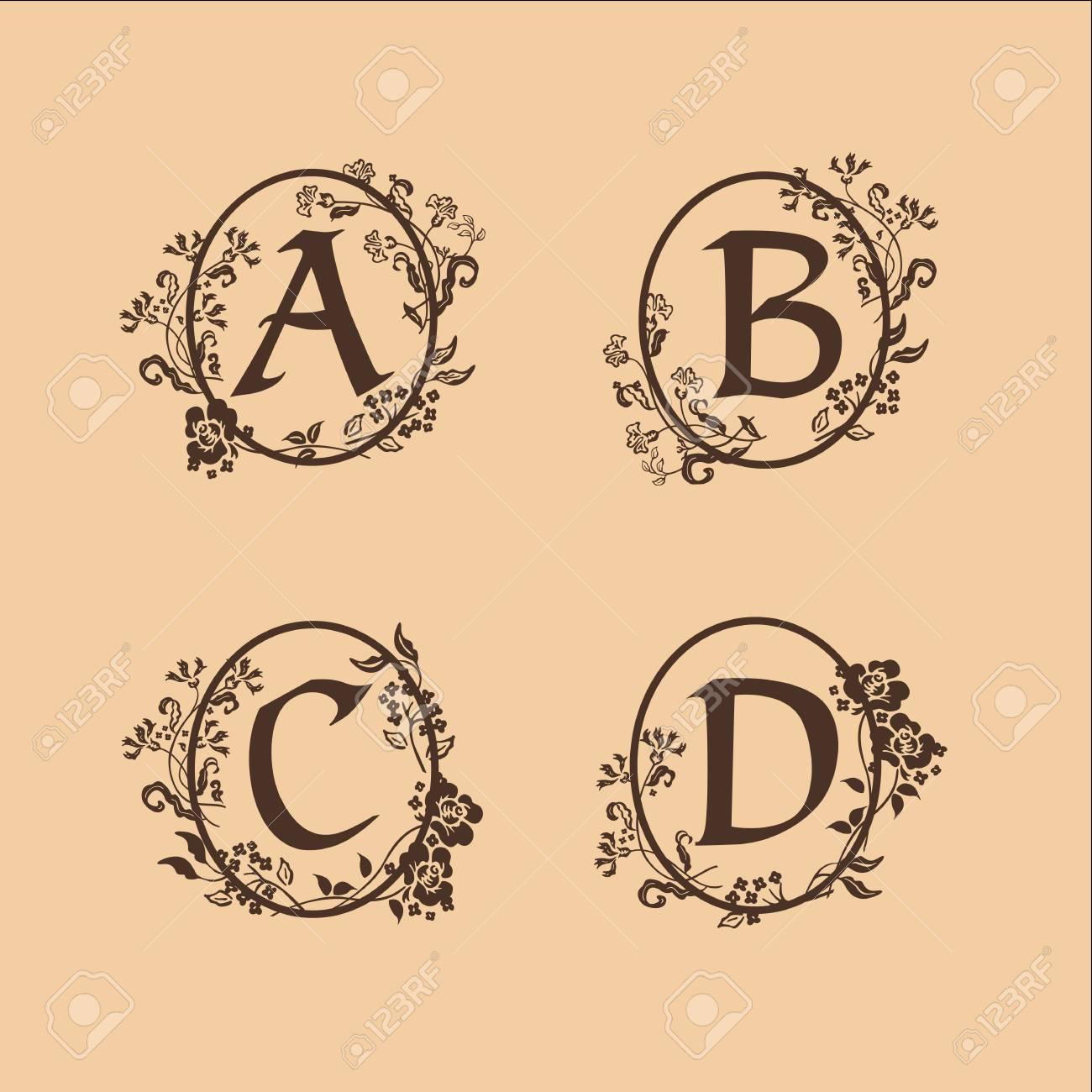 Decorative Letter A.Decoration Letter A B C D Logo Design Concept Template