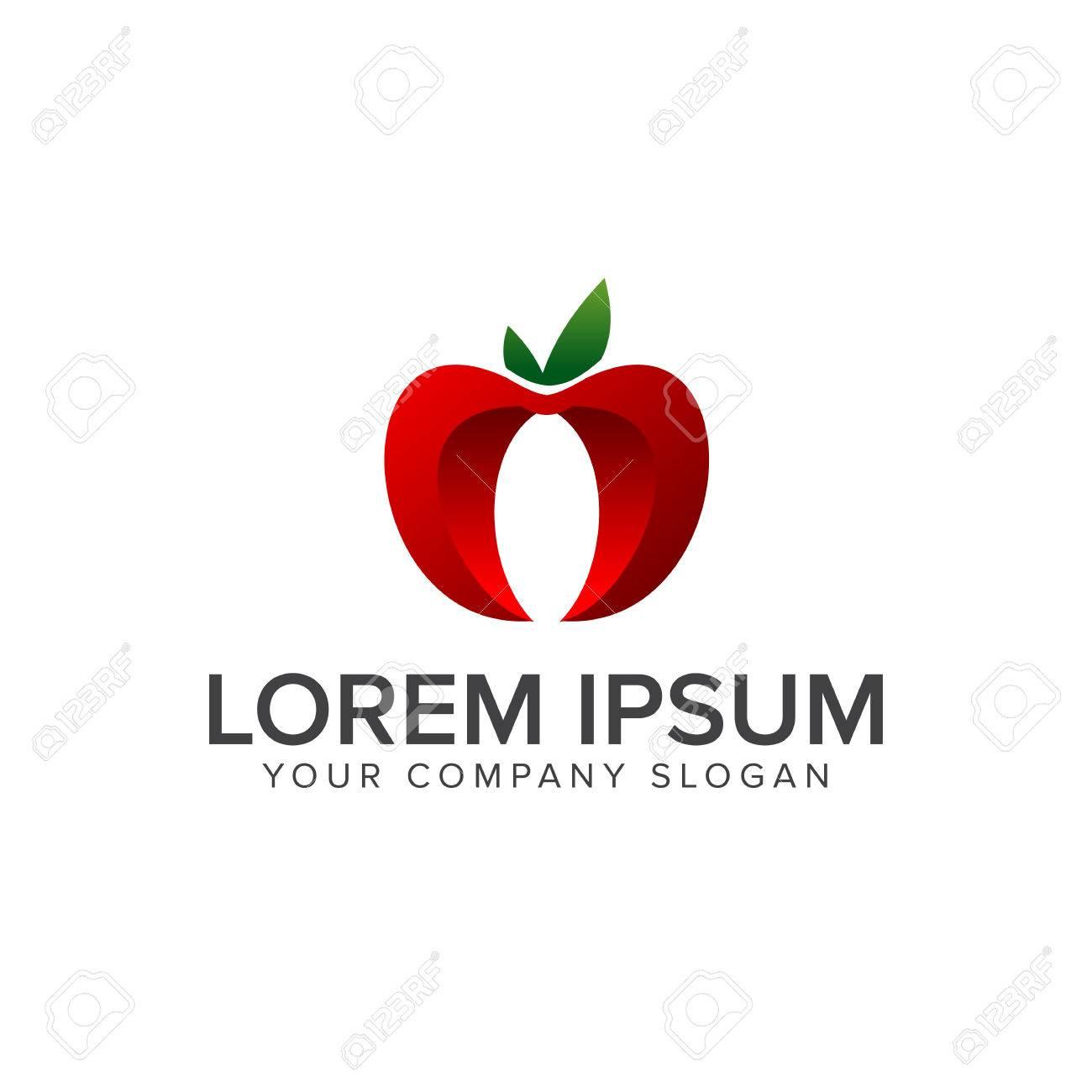 apple fruit logo 3d design concept template royalty free cliparts