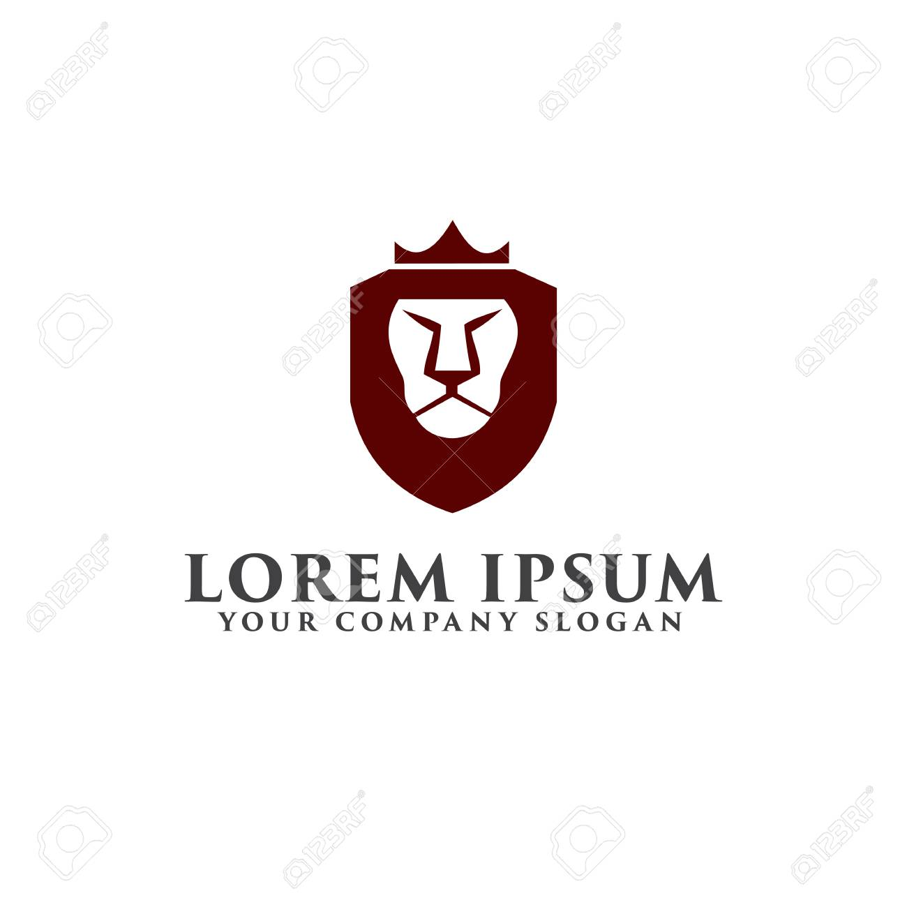 Lion Shield With Crown Logo Luxury Design Concept Template Stock Vector