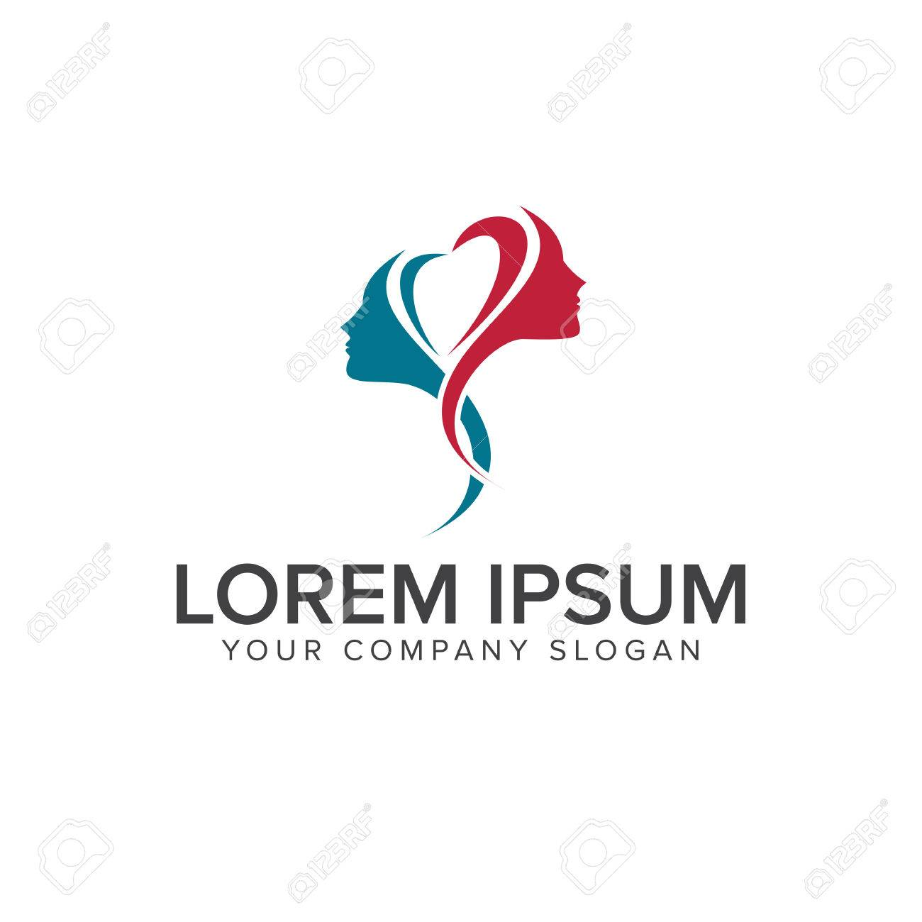 Beauty Woman With Love Logo Spa Design Concept Template Stock Vector