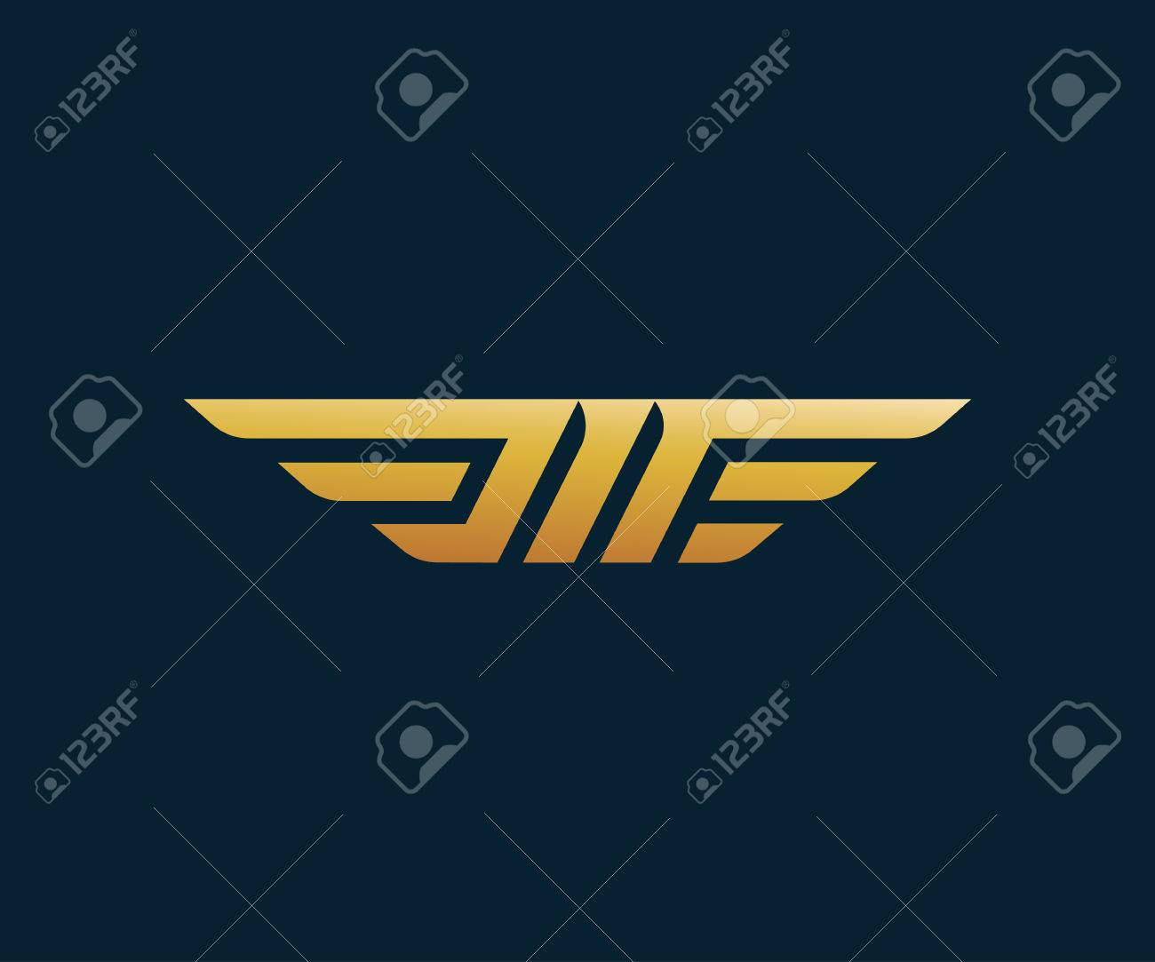 letter m wing logo design concept template royalty free cliparts