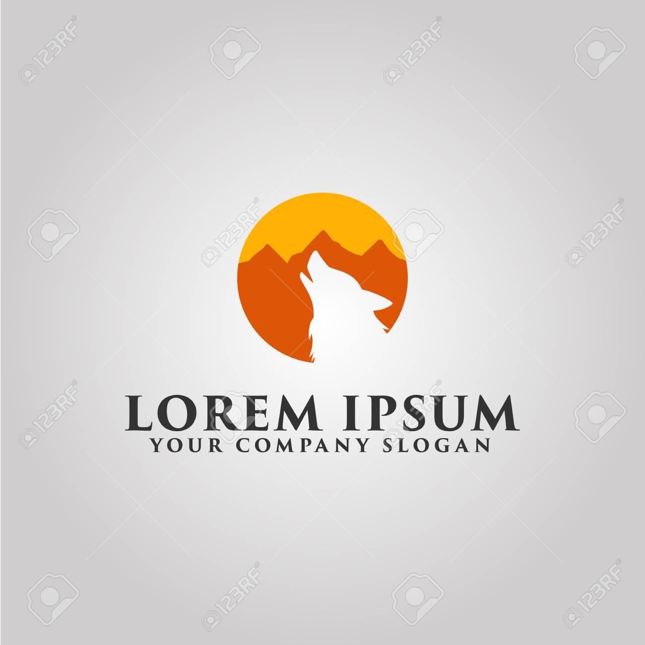 Logotipo De Lobo. Plantilla De Concepto De Diseño De Paisaje De ...