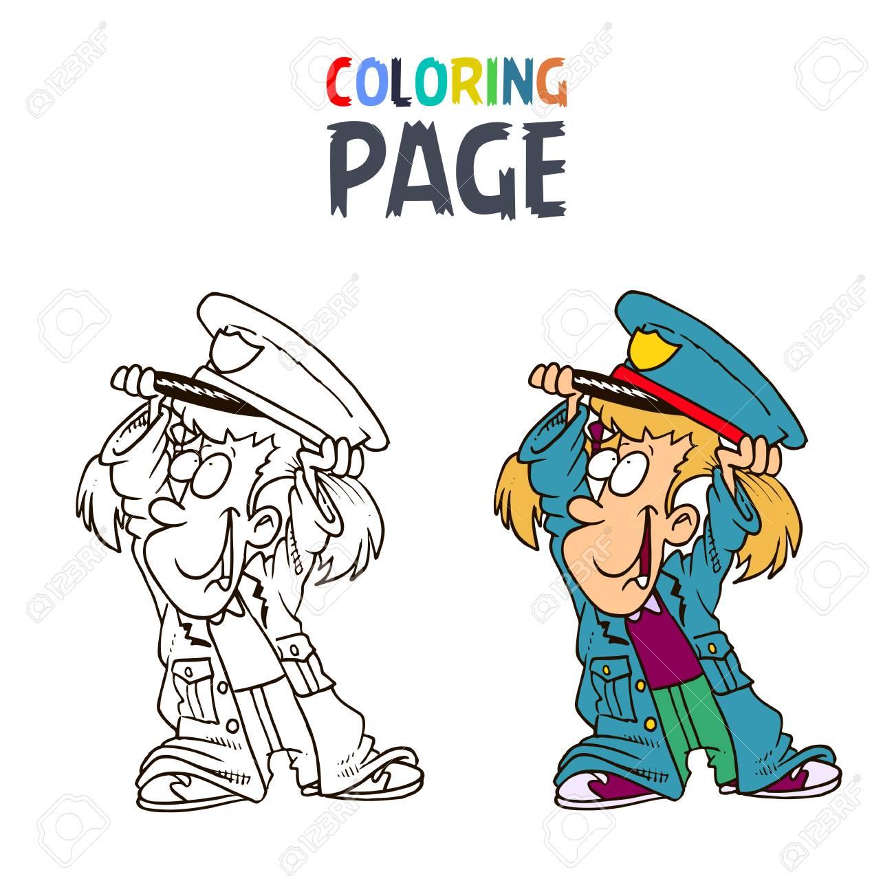 Malvorlagen Kleines Mädchen Mit Polizei Kleidung Cartoon