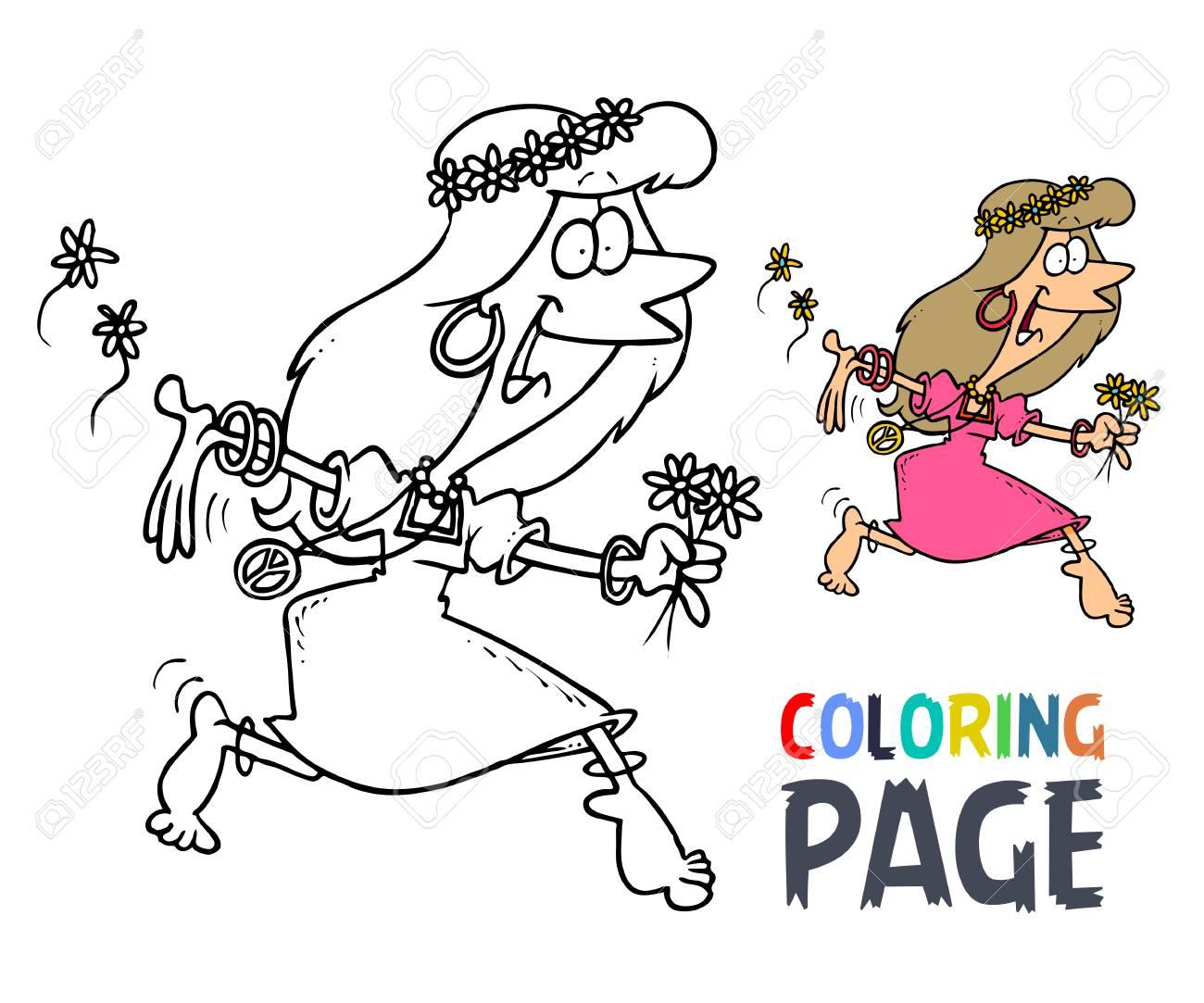 Women Dancing Cartoon Coloring Page Royalty Free Cliparts Vectors