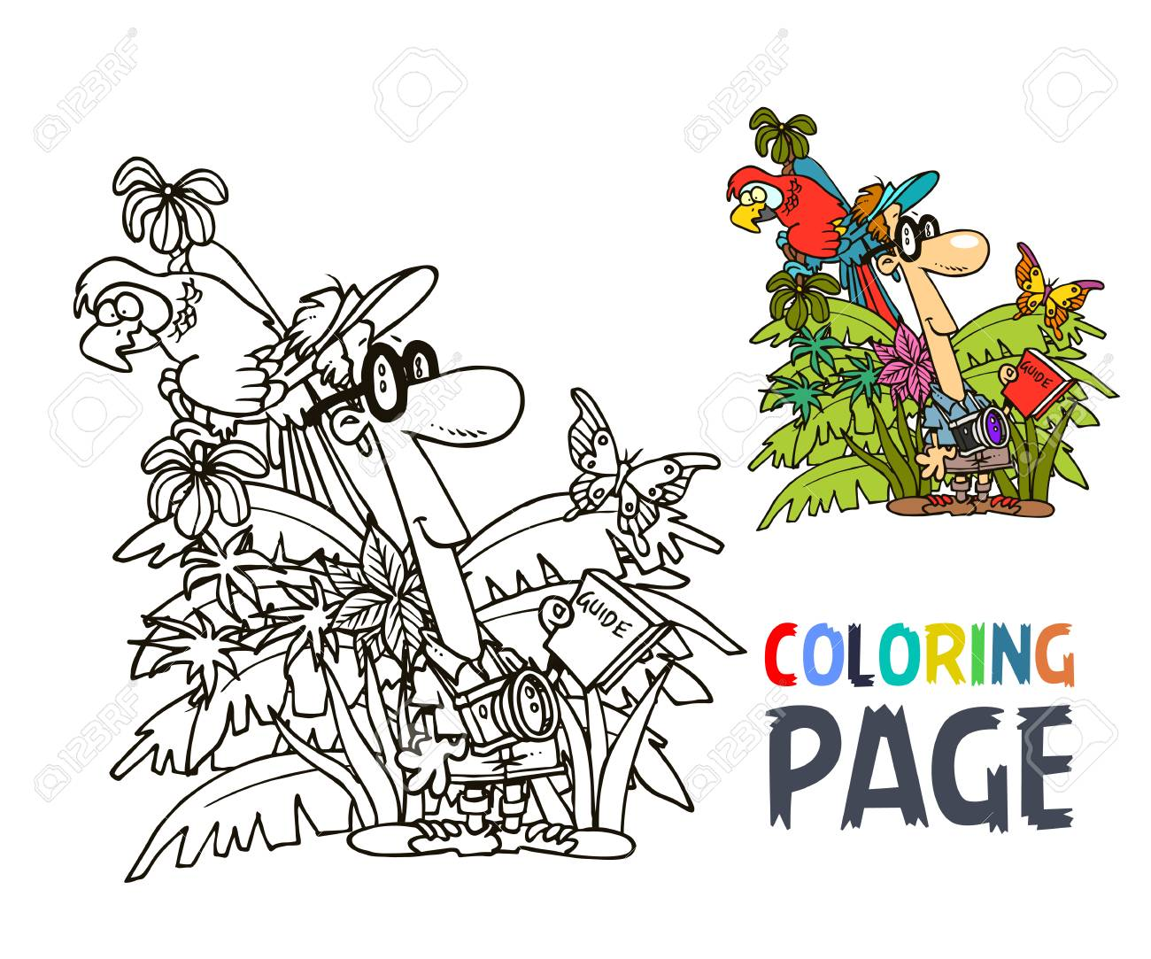 Página Para Colorear De Turista Y Selva Ilustraciones Vectoriales ...