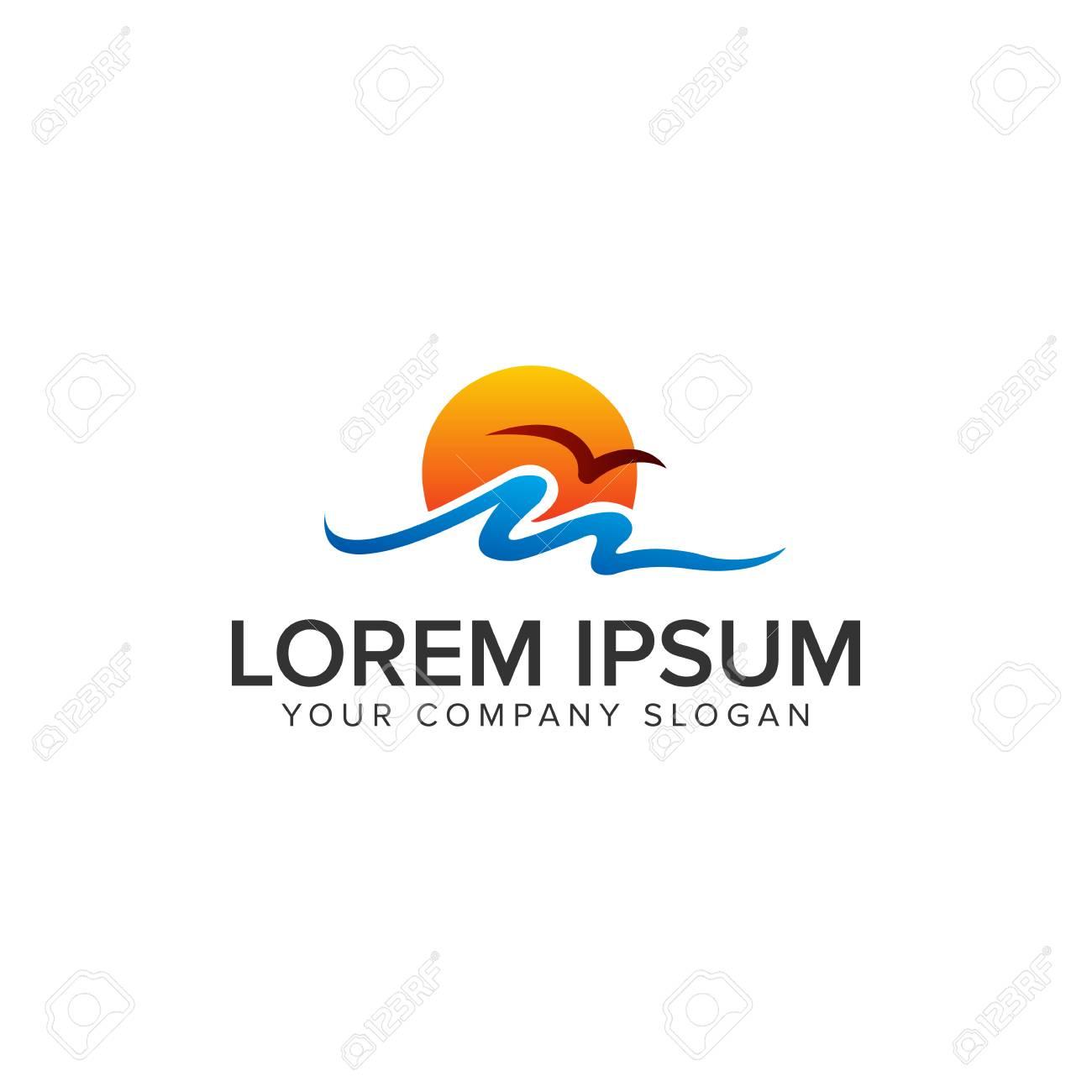 waves sea sunrise Logo design concept template - 86157281