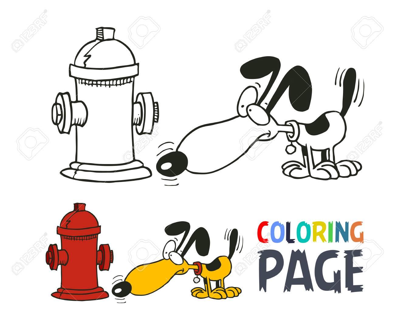 Página Para Colorear De Perro De Dibujos Animados Ilustraciones ...