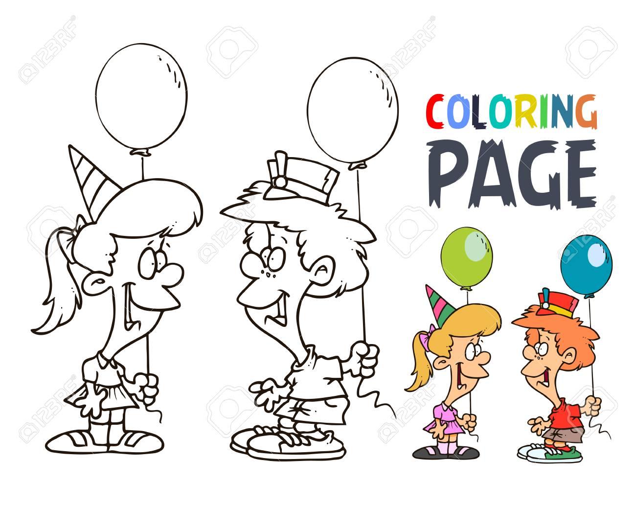 Fiesta De Niños Con Dibujos Animados De Globos Para Colorear