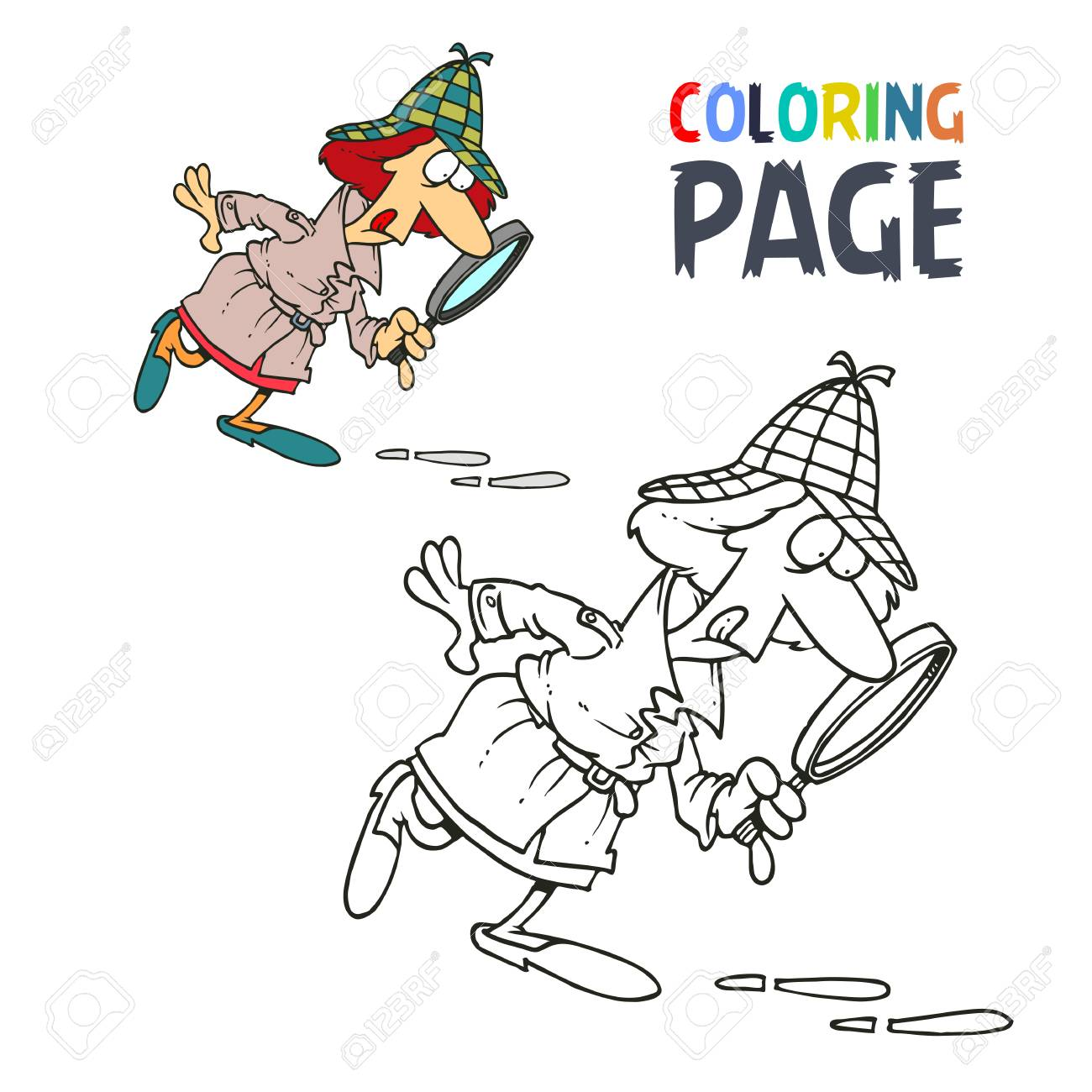 Detective Women Cartoon Coloring Page Stock Vector
