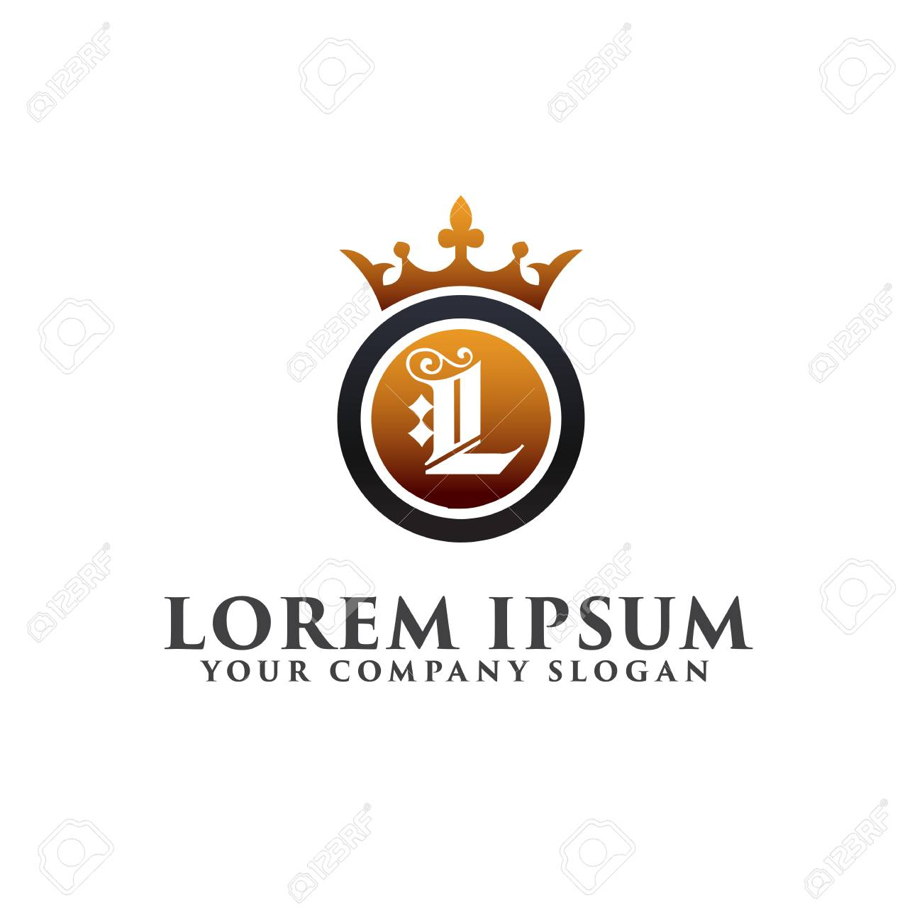 Luxury Letter L With Crown Logo Design Concept Template Royalty Free ...