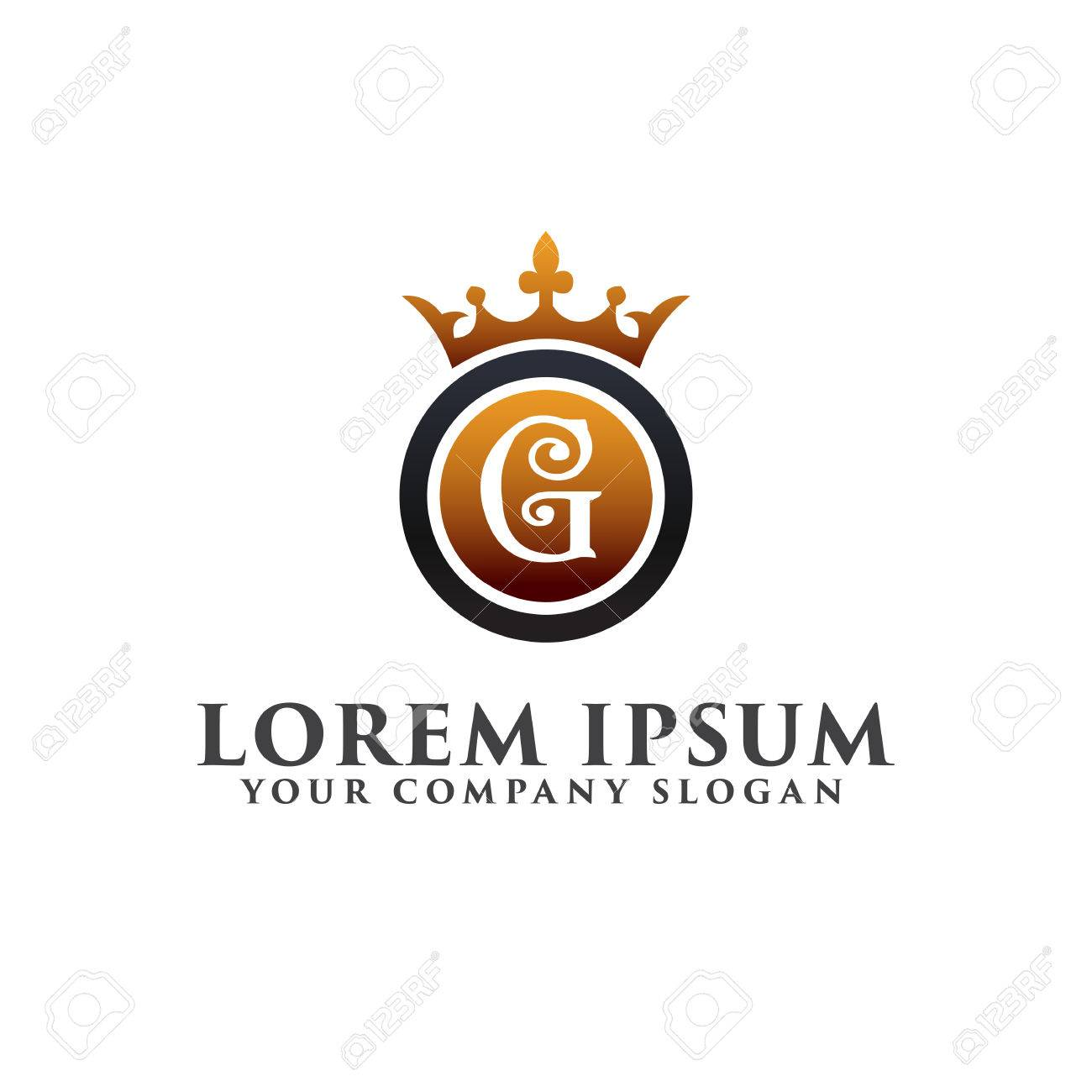 luxury letter g with crown logo design concept template royalty free
