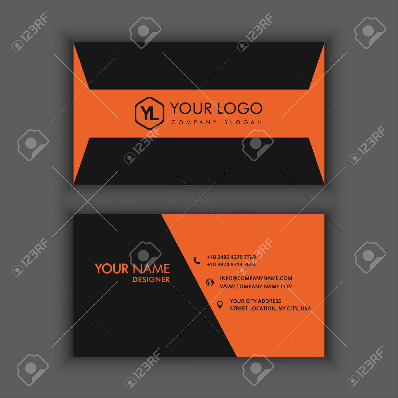 Modern Creative And Clean Business Card Template With Orange ...