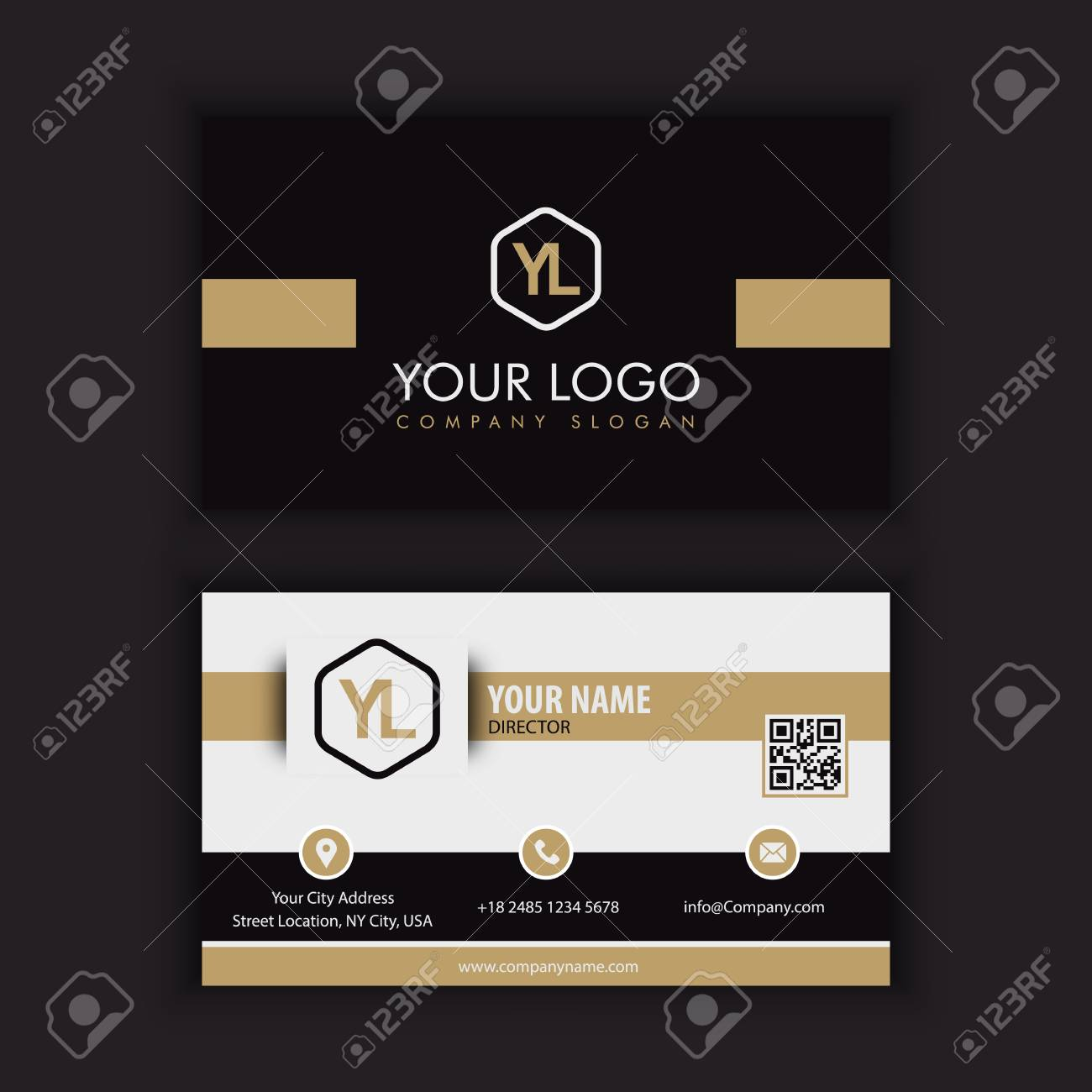 Modern Creative and Clean Business Card Template with gold dark color - 87647547