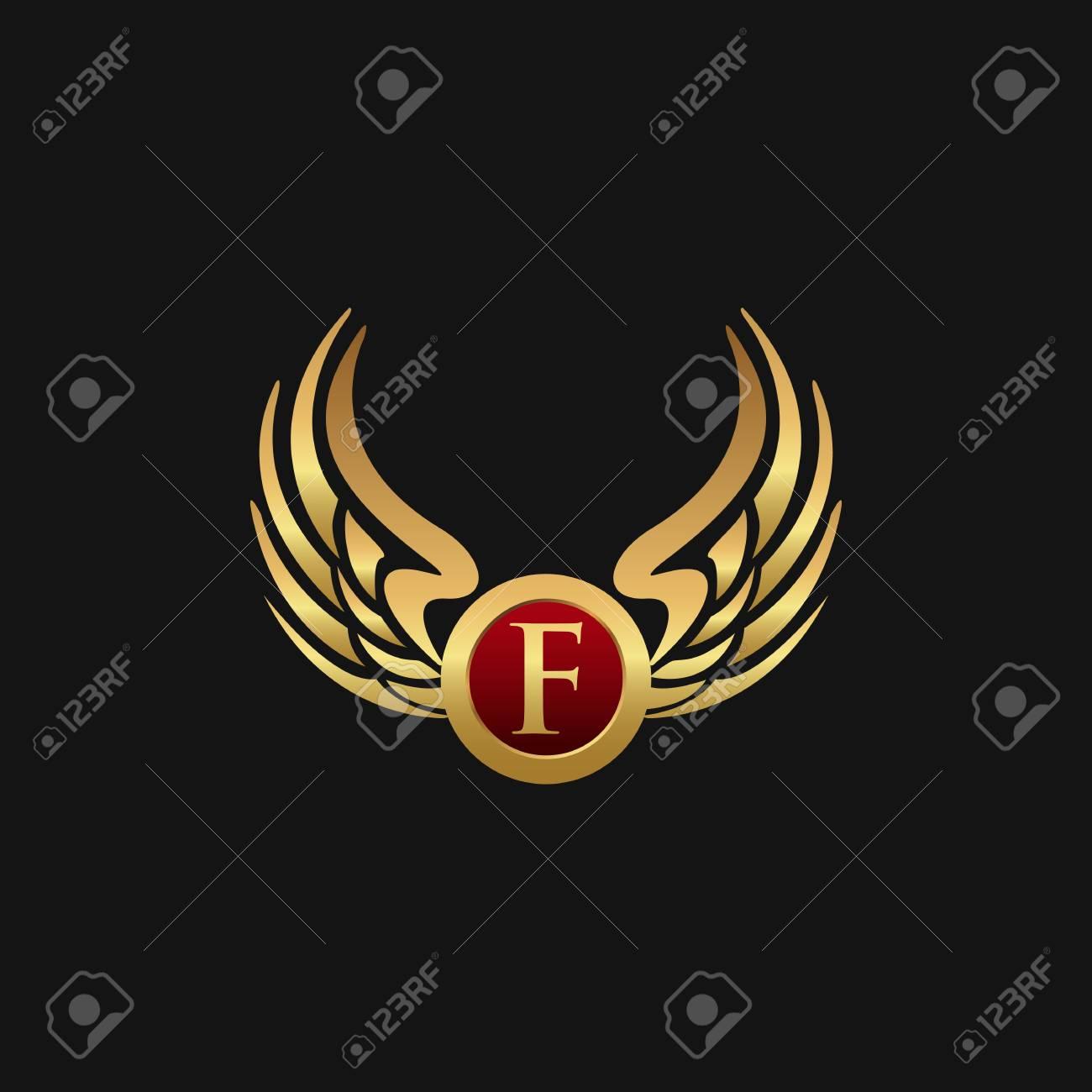 Luxury Letter F Emblem Wings logo design concept template - 87660391
