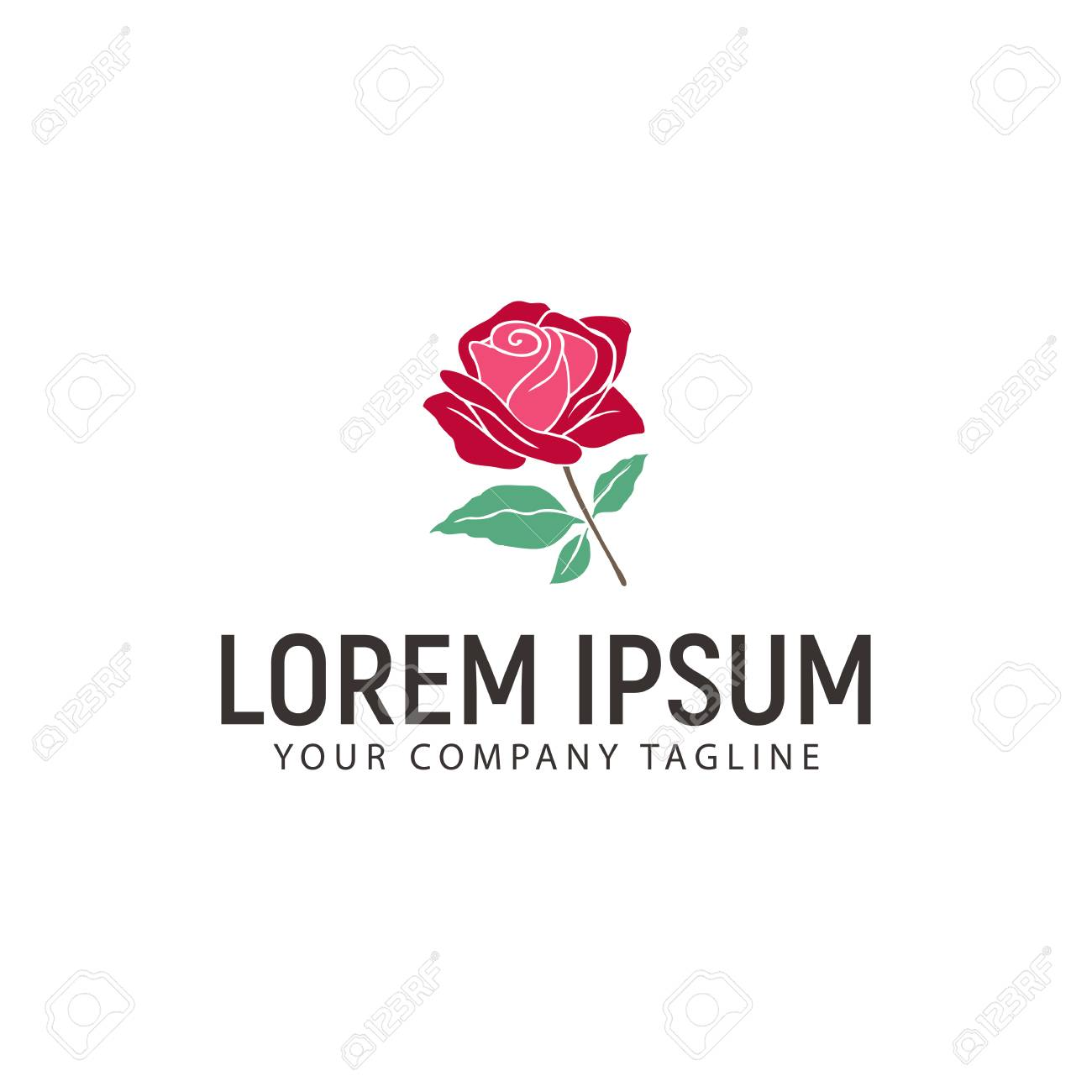 Rose Hand Drawn Logo Design Concept Template