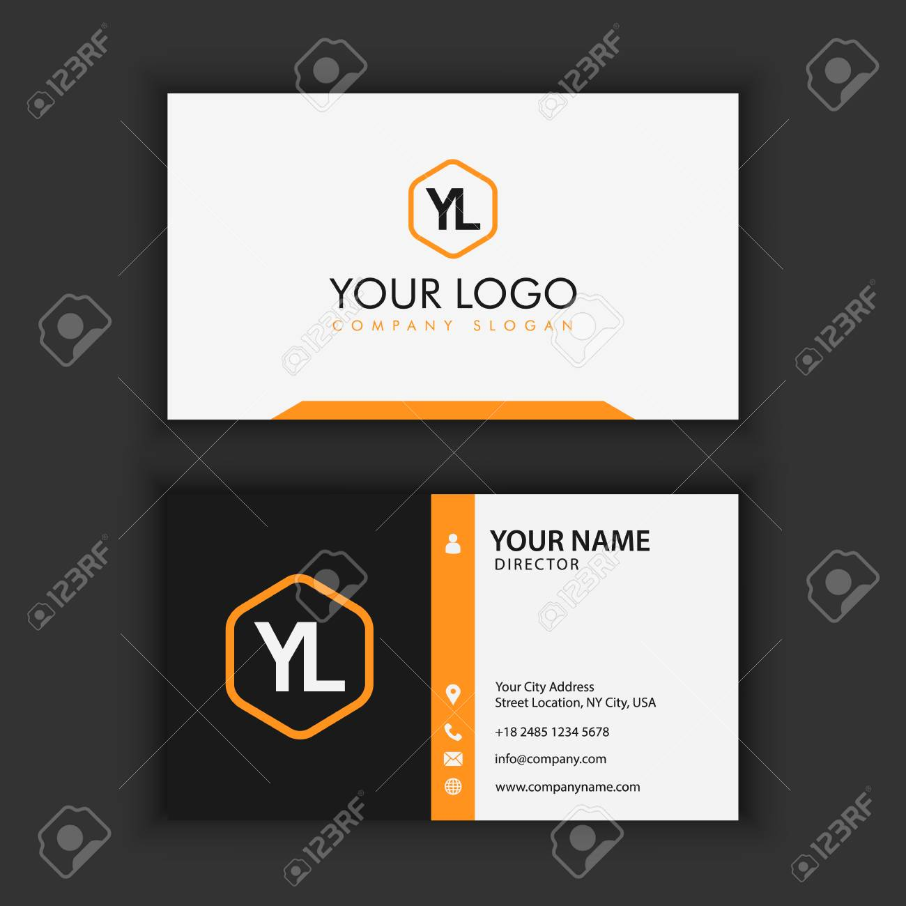 Modern Creative and Clean Business Card Template with orange black color - 87925614