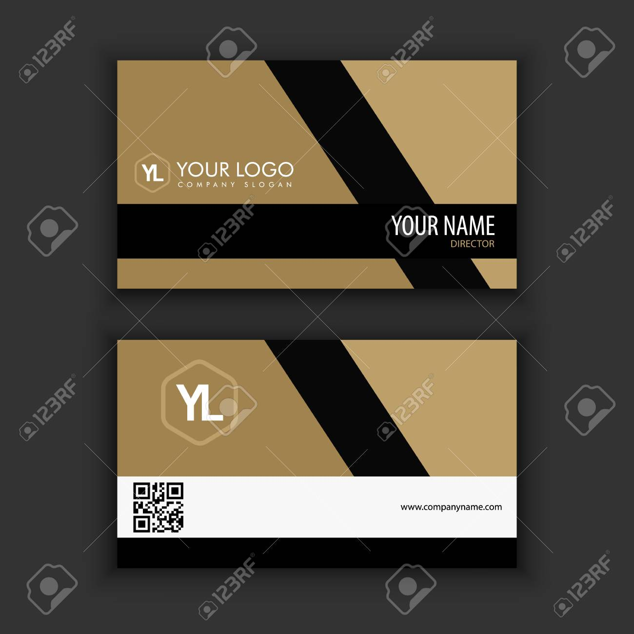 Modern Creative And Clean Business Card Template With Gold Black ...
