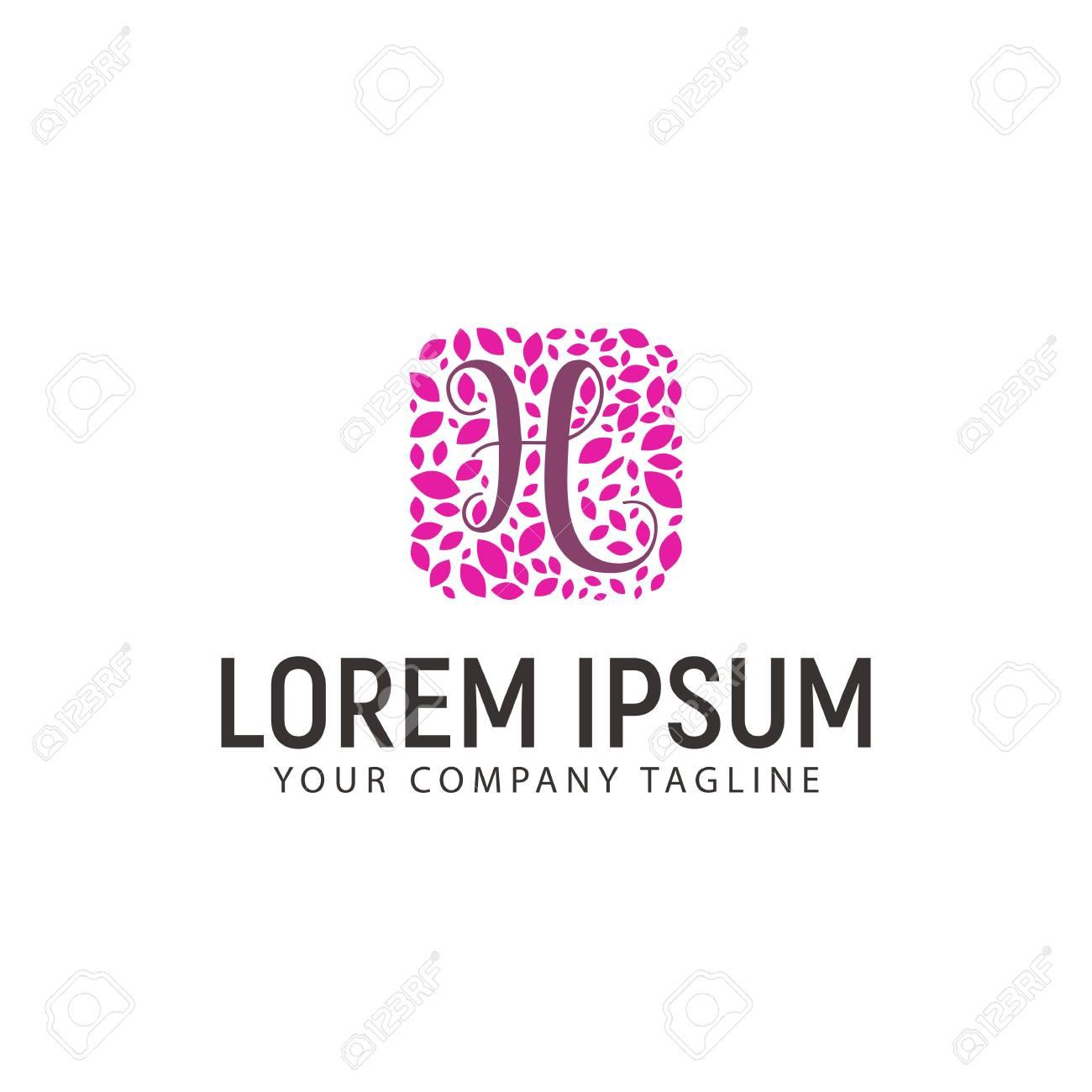 Letter H With Leaf Decoration Logo Wedding Beauty Design Concept