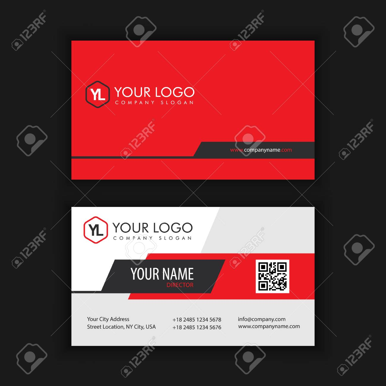 Modern Creative and Clean Business Card Template with Red Black color - 89409599
