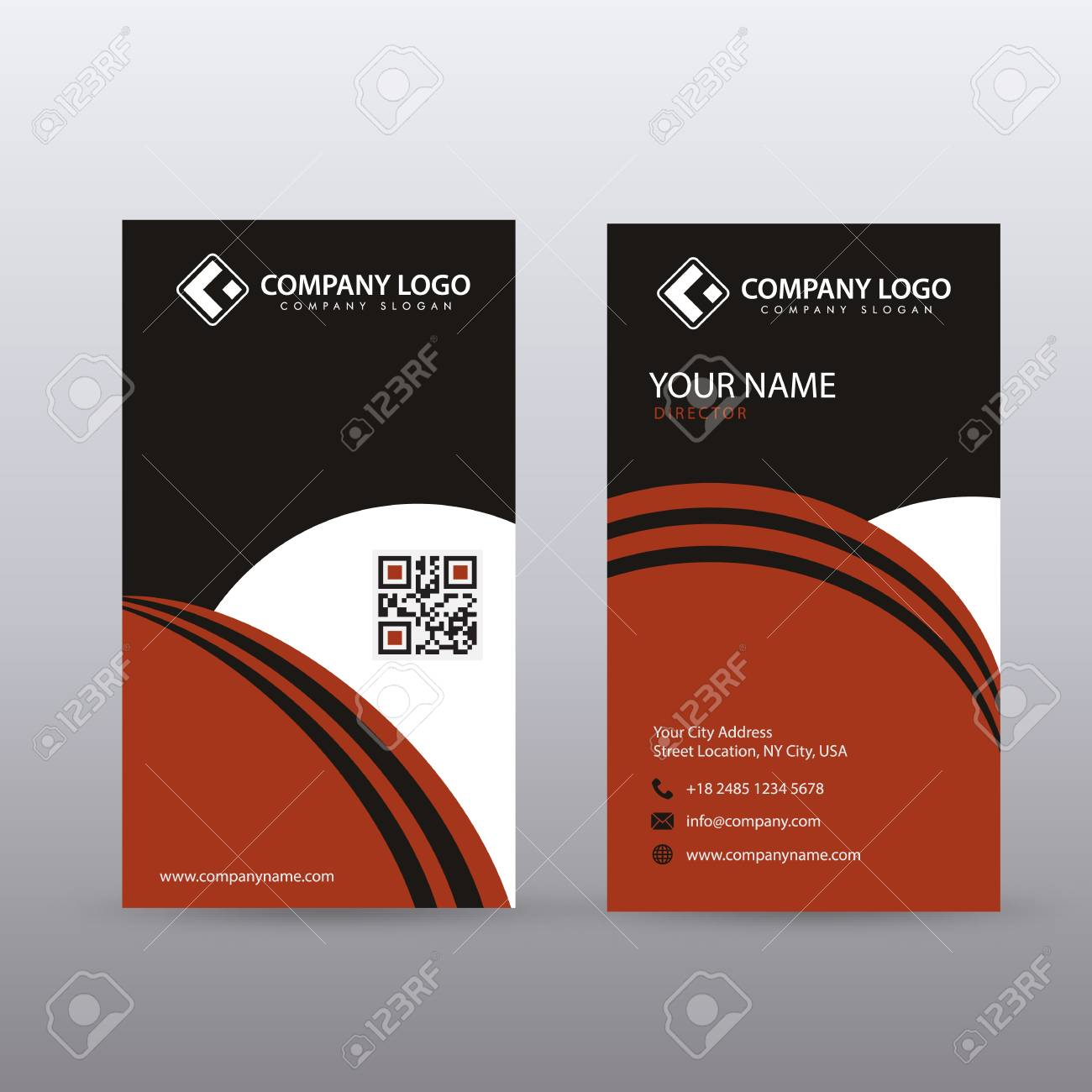 Modern creative vertical clean business card template with red modern creative vertical clean business card template with red black color fully editable vector accmission