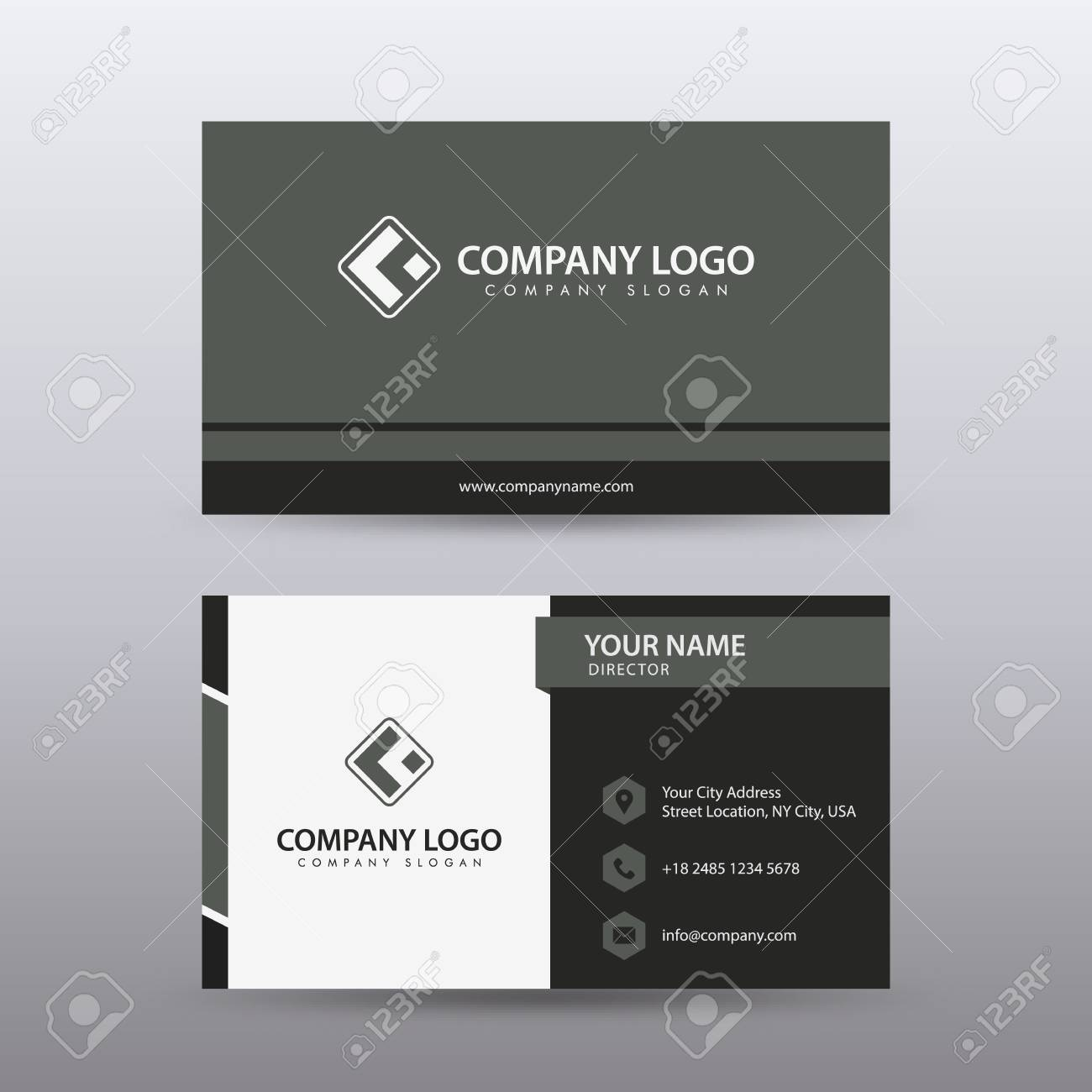 Modern Creative and Clean Business Card Template with Red Black color . Fully editable vector. - 94503965