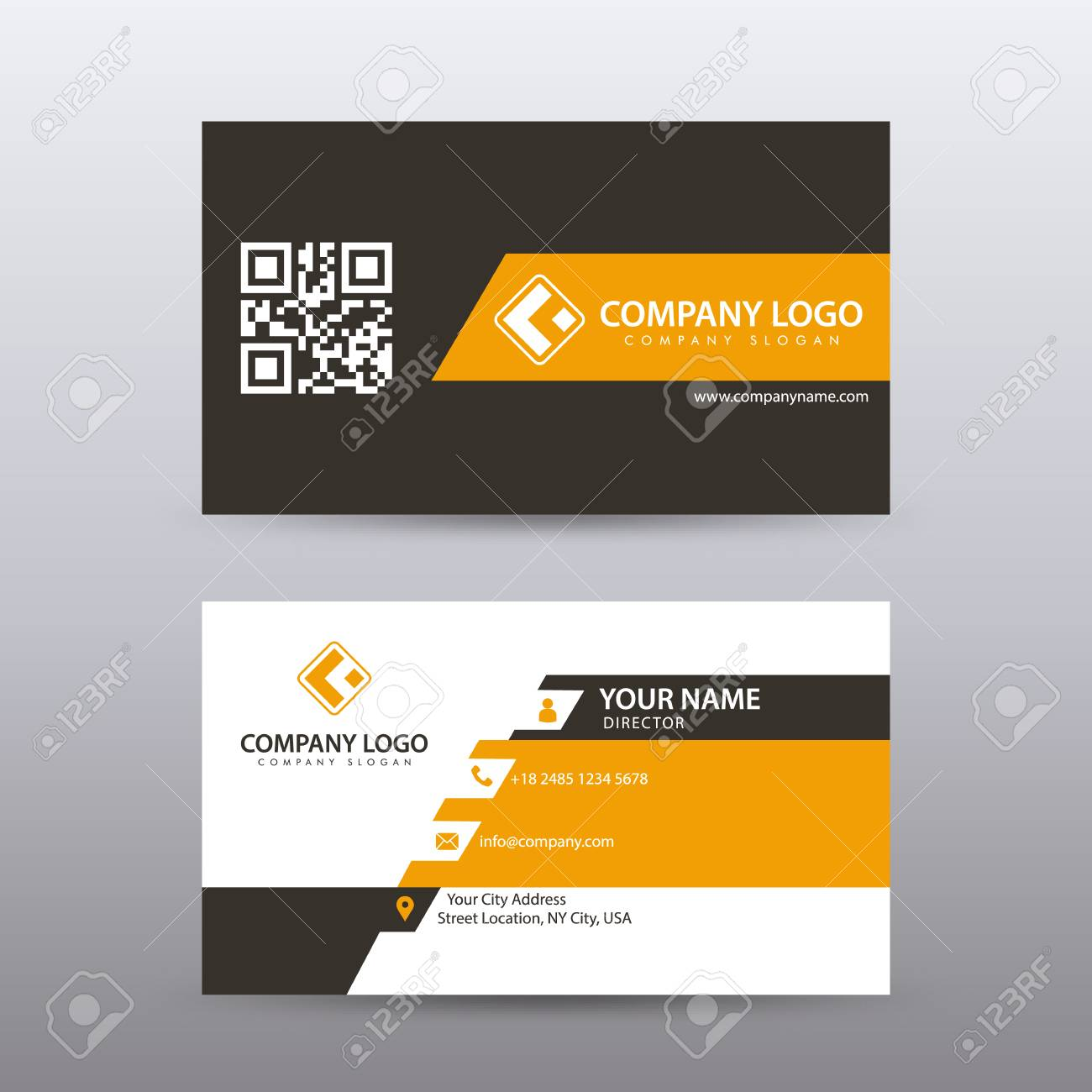 Modern Creative and Clean Business Card Template with orange Black color . Fully editable vector. - 94504020