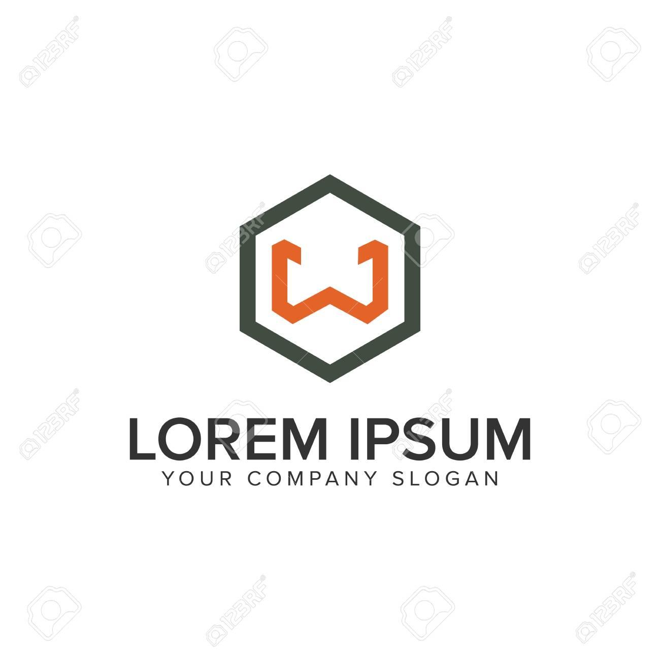 letter w minimalist logo design concept template stock vector 96677551