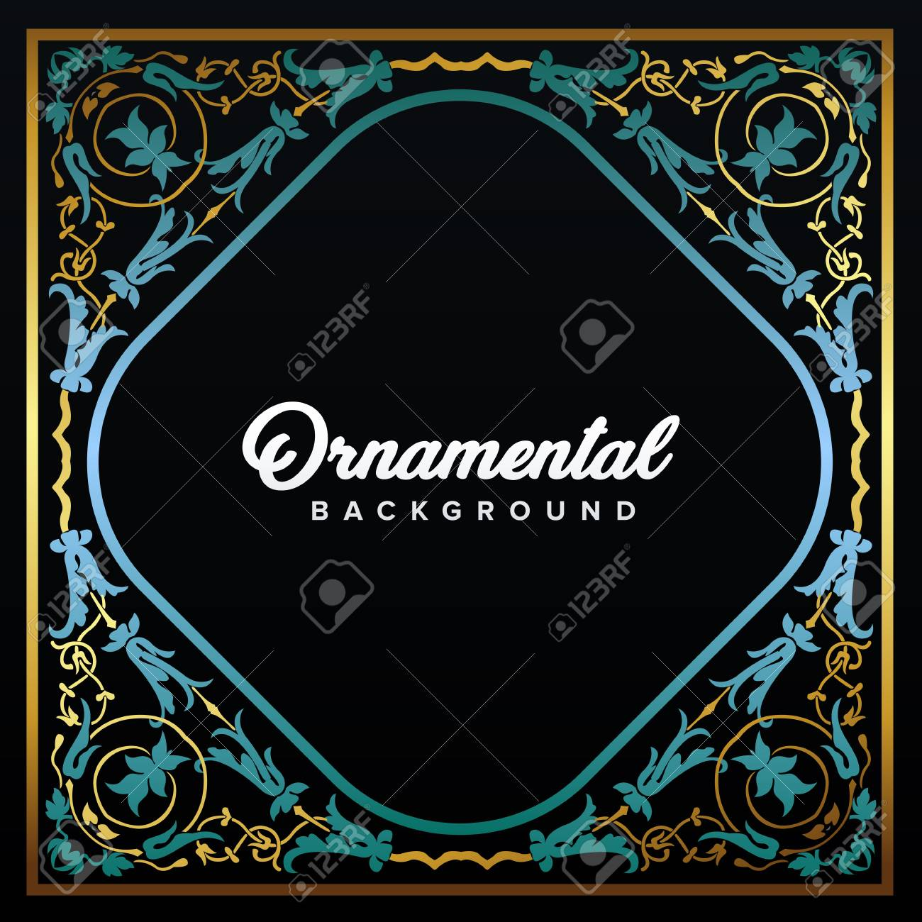 Arabic Frame. Islamic design framed by golden patterns. Mosque decoration element. Elegance Background with Text input area in a center. Vector illustration. - 104925338