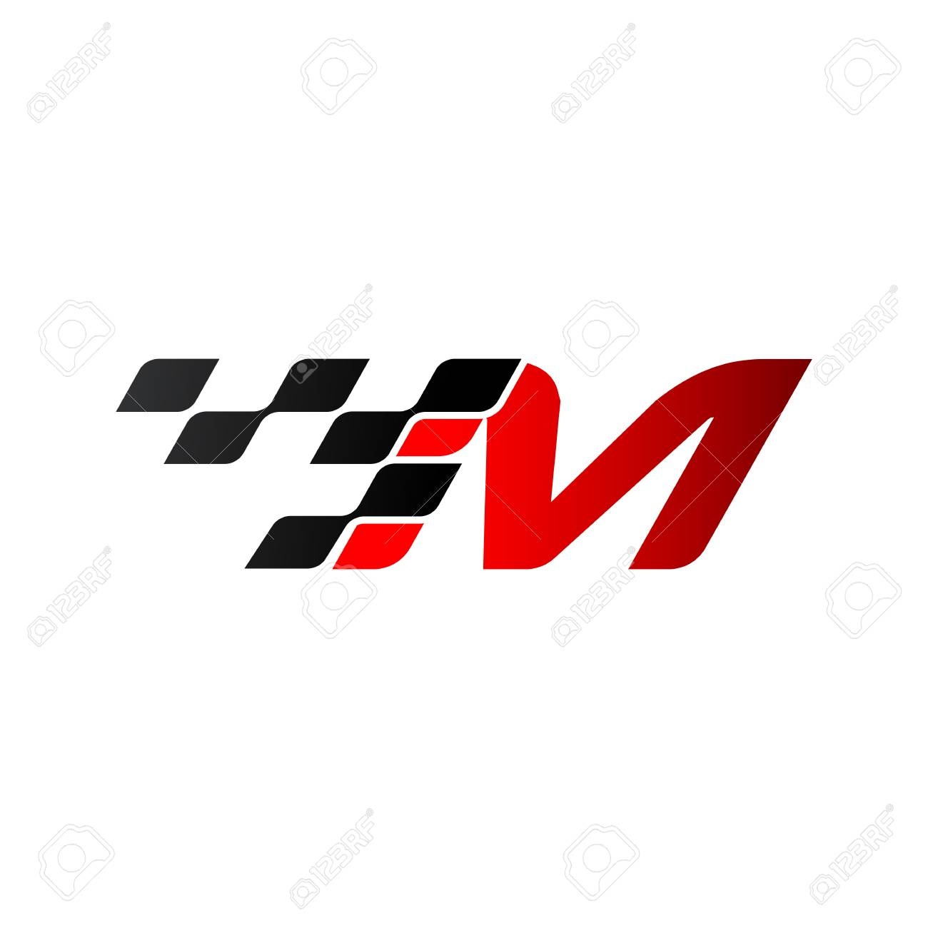 Letter M with racing flag logo - 105838589