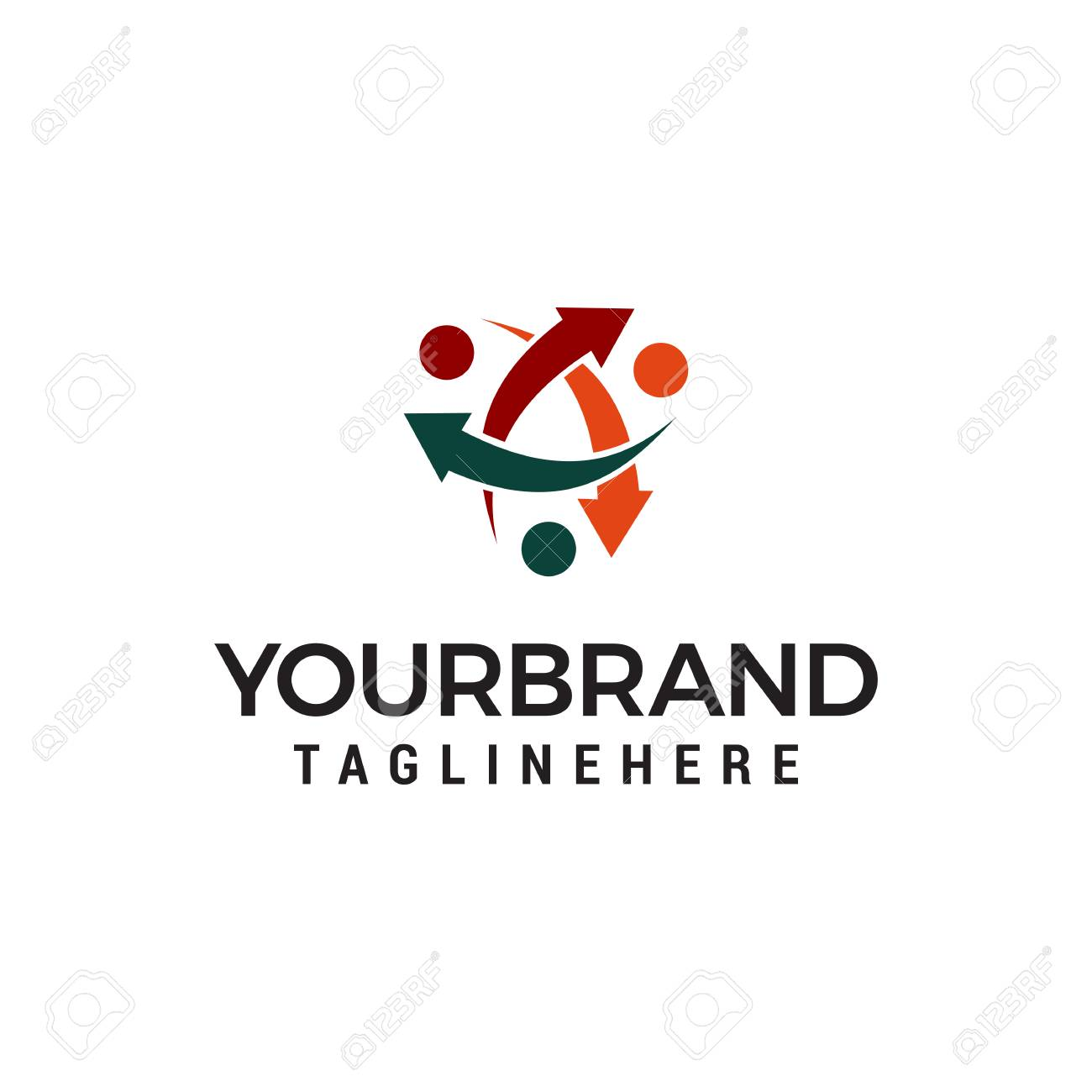community people with arrow circling logo template design - 114295063