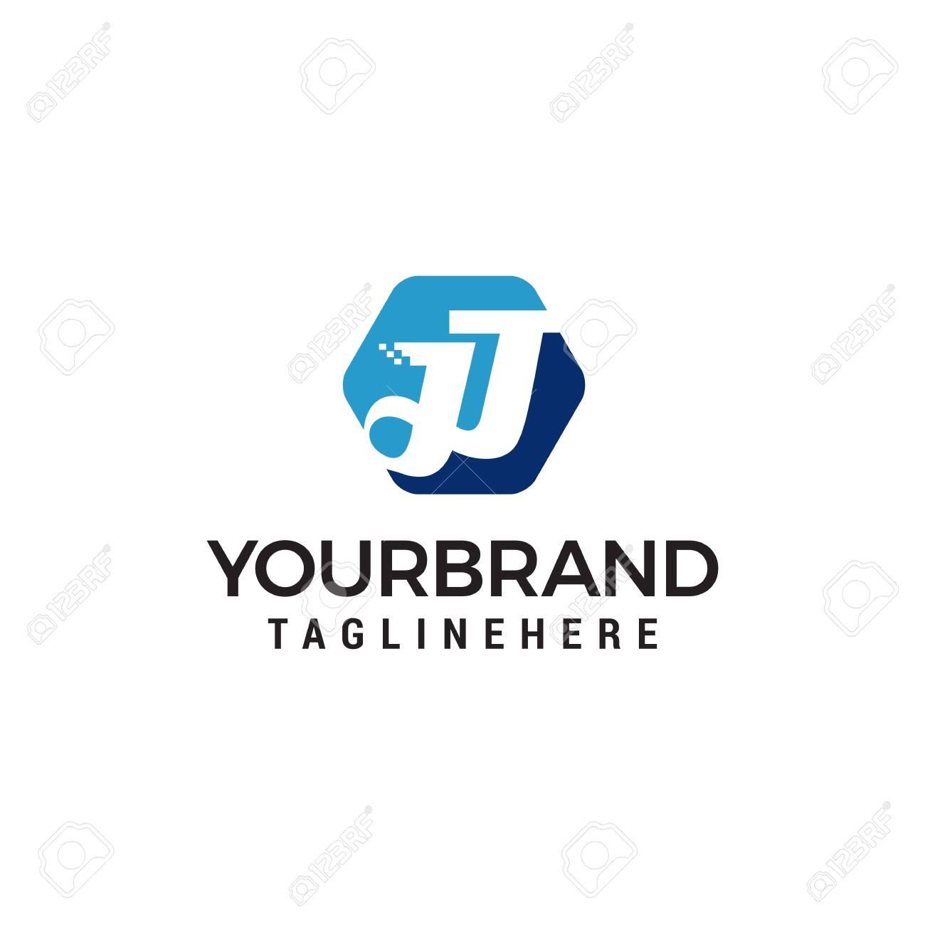 letter jj hexagon logo design concept template vector - 122373116