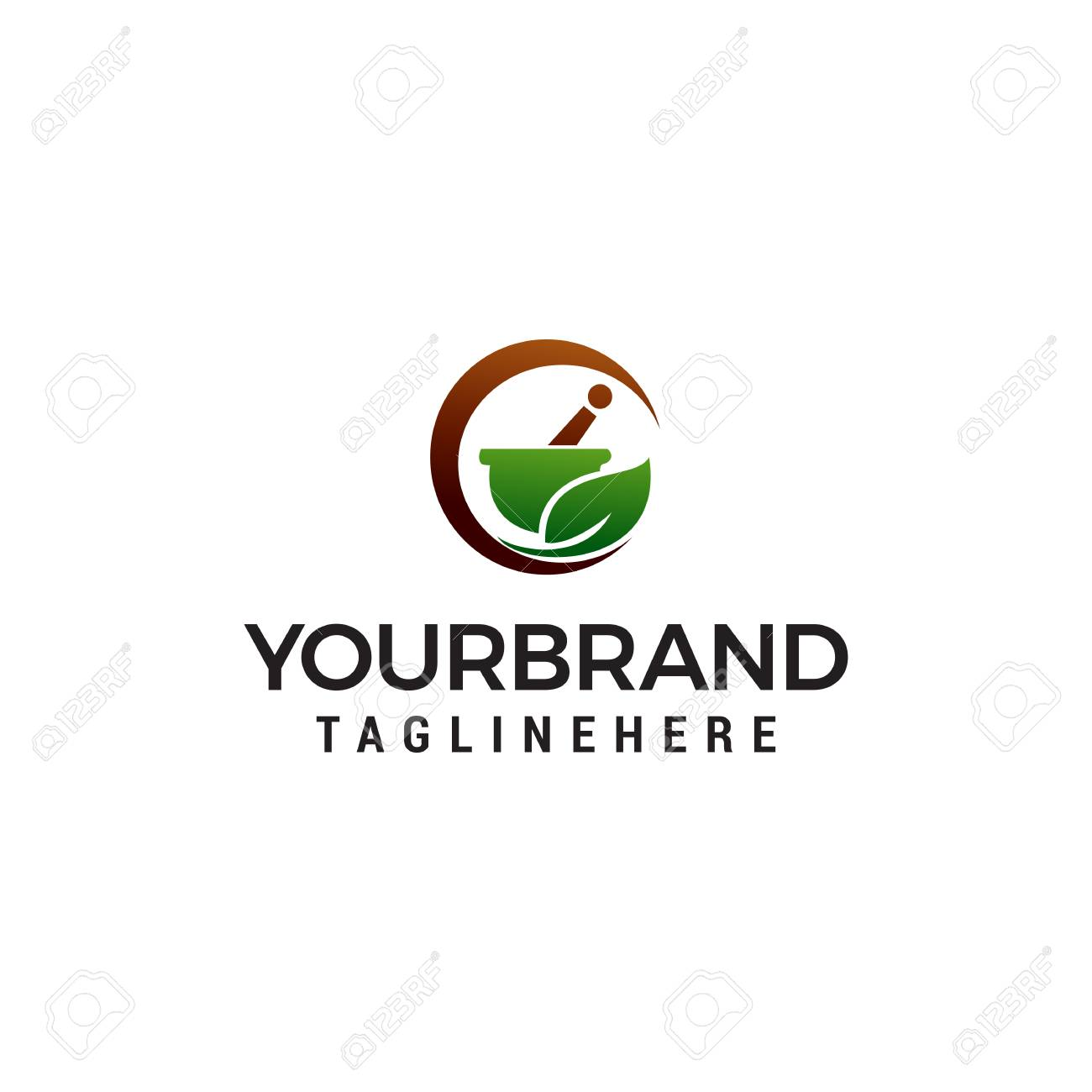 pharmacy herbal logo design concept template vector - 122373381