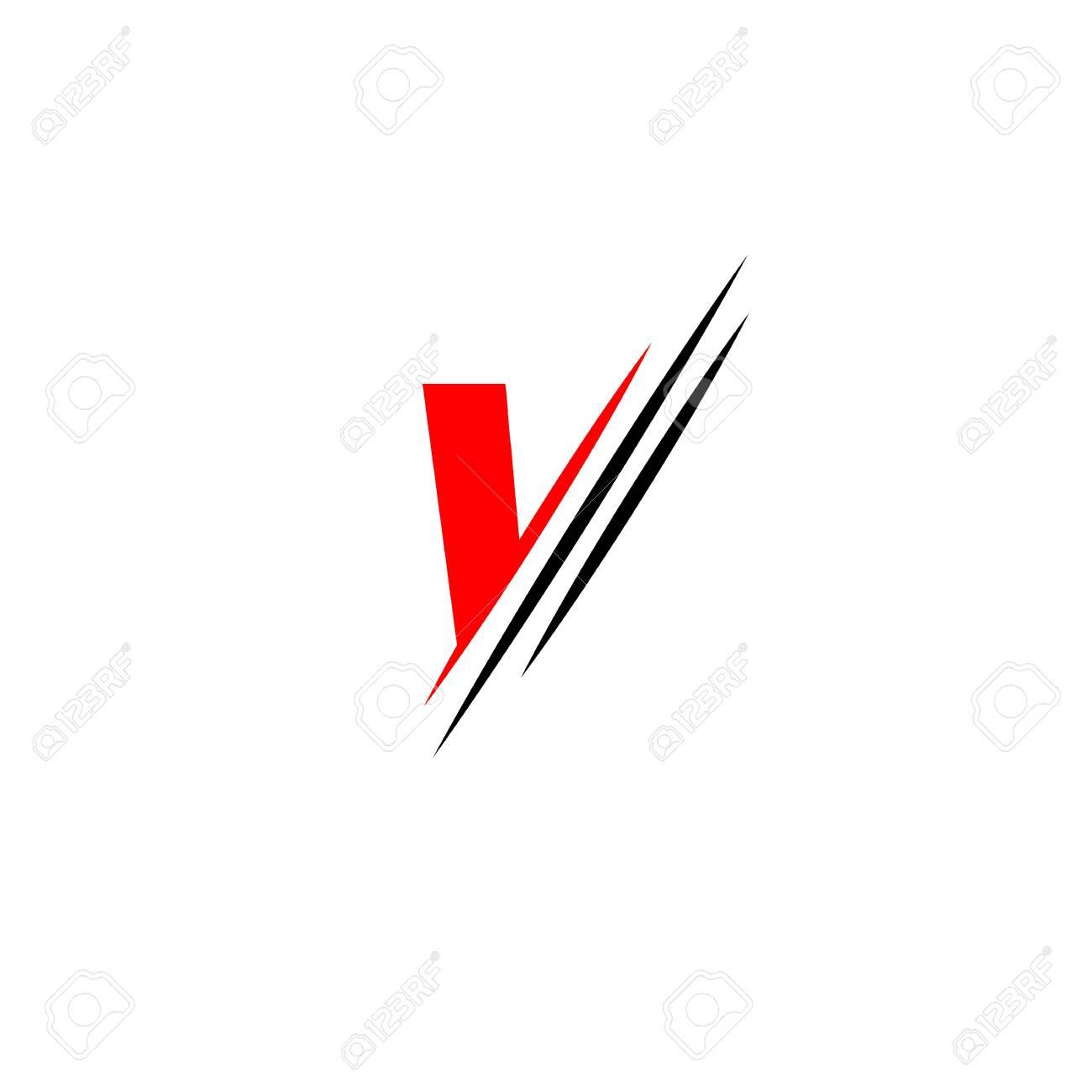 Letter V logo graphic elegant and unique sliced design template Vector - 129027053