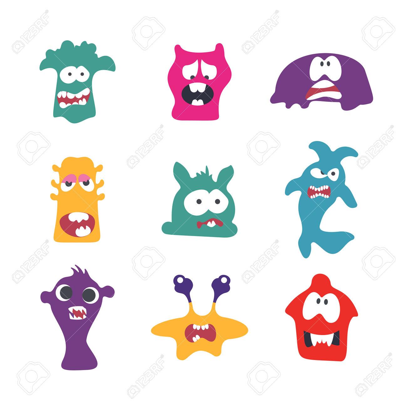 Cute Cartoon Monsters illustration. Flat vector collection. Collection of cute, colorful cartoon monsters. Vector illustration. Flat design. - 166596784