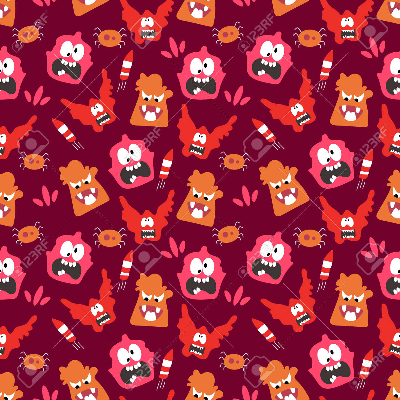 Seamless pattern with cute color monsters - 167718274