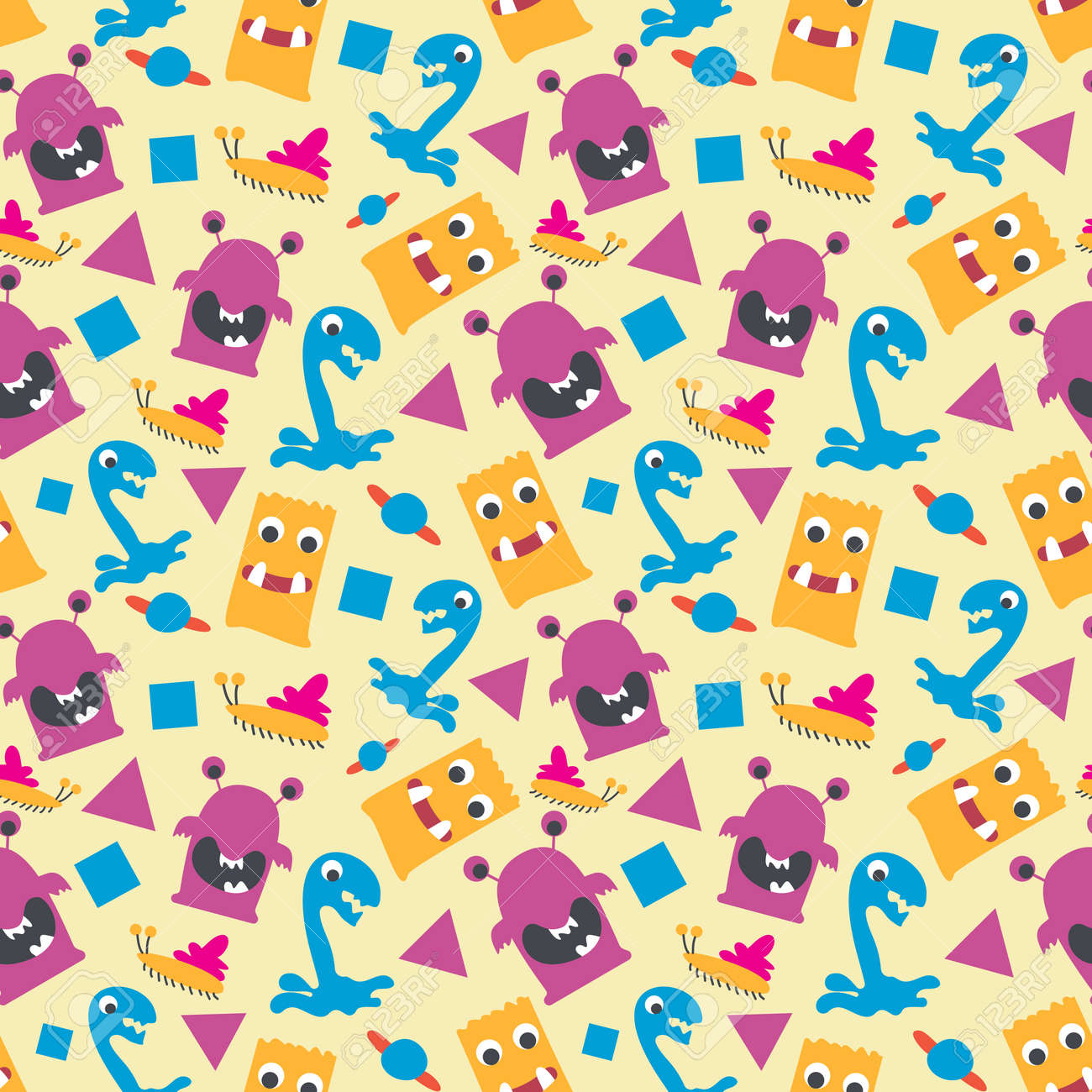 seamless pattern with monsters vector illustration - 167718277