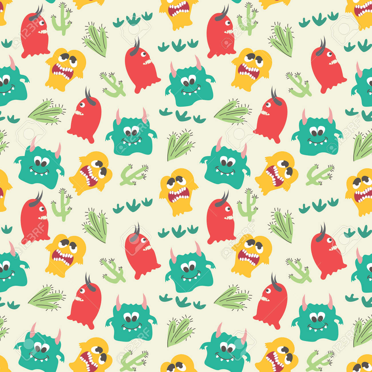Seamless pattern with cute color monsters - 167718279