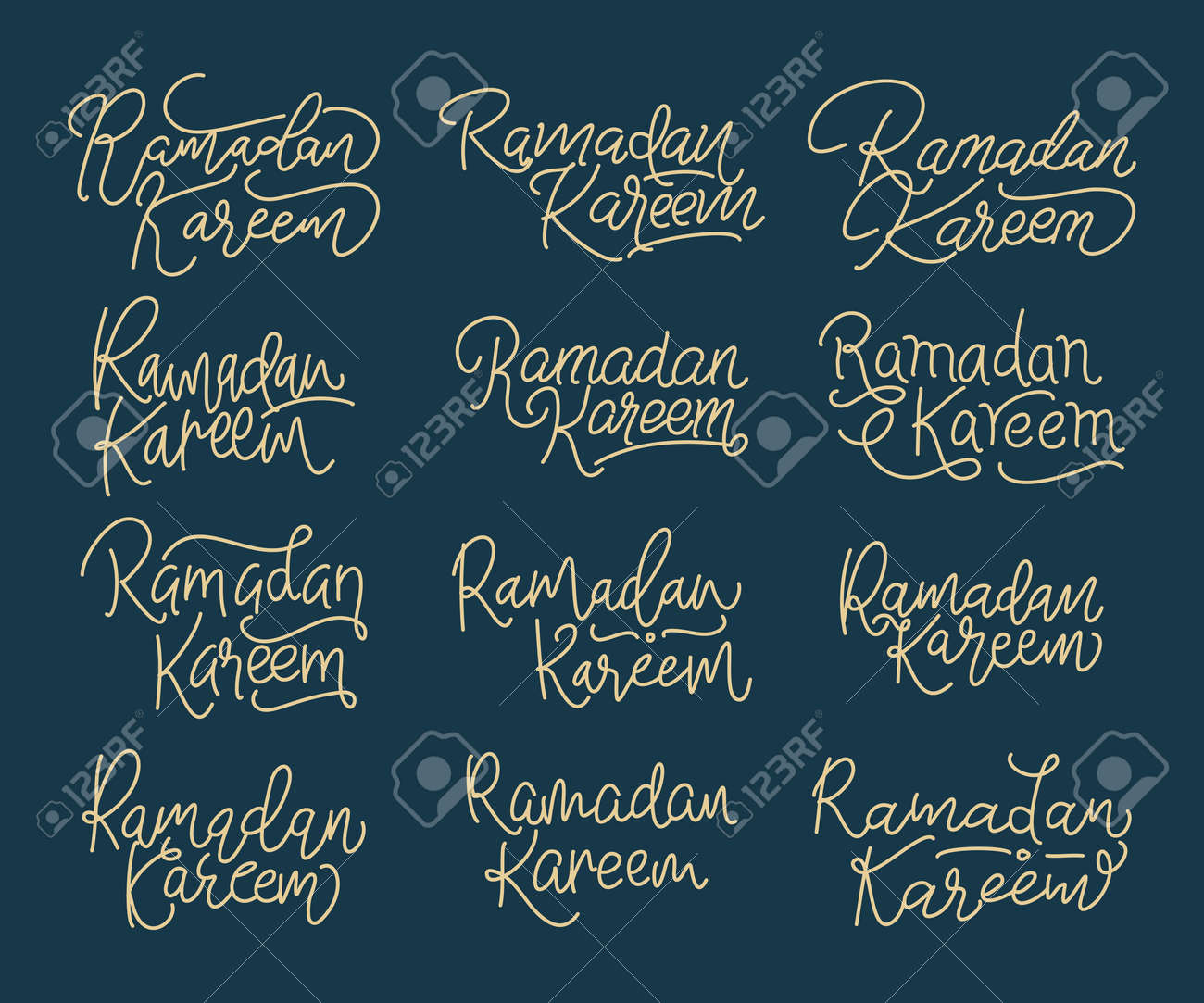 Collection of Ramadan Kareem modern calligraphy isolated on white background. Handwritten lettering. Hand drawn vector design elements. Muslim holy month. - 167718285