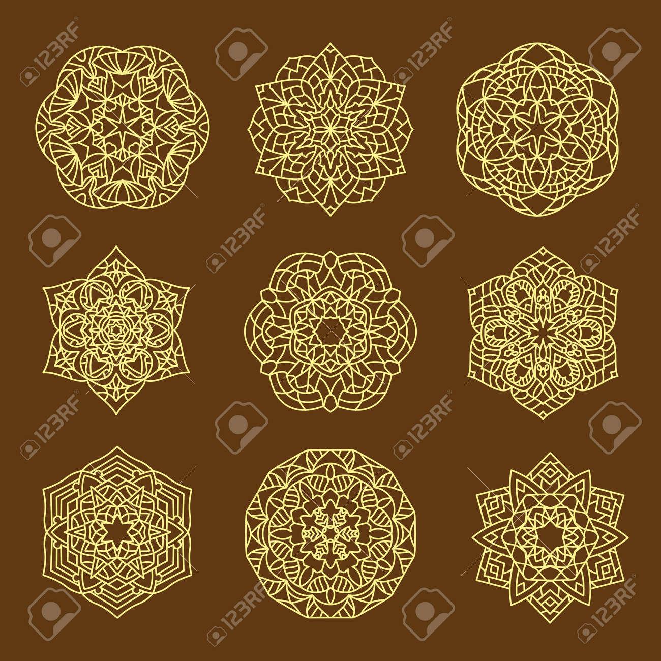 Set Pattern geometric gold logo. Vector decorative Arabic characters - 167718289