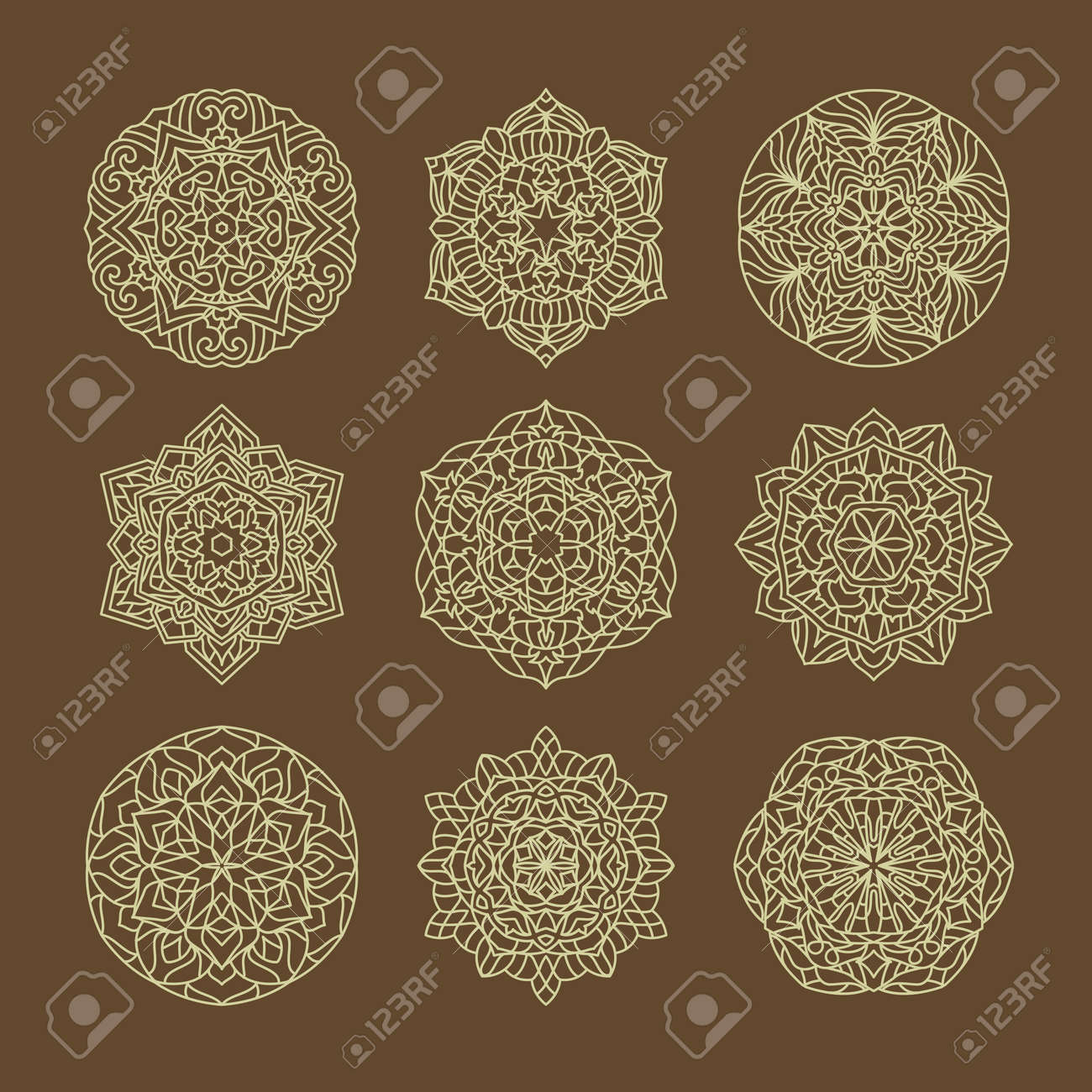 Ornament round set with mandala with arabic style ornament vector illustration - 167236343