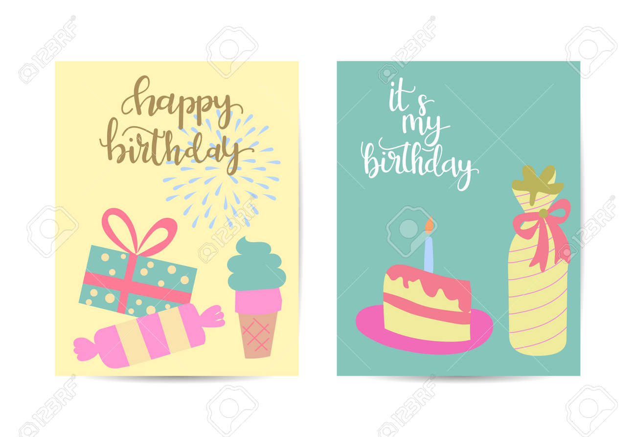 vector illustration of set of colorful gift with birthday banner - 168741435