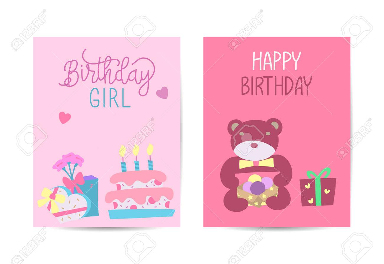 Set of birthday greeting cards design. Celebration and event background. Vector illustration. - 168741436