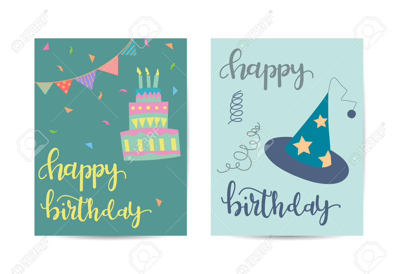Birthday greeting card. Template with birthday elements. - 168741439
