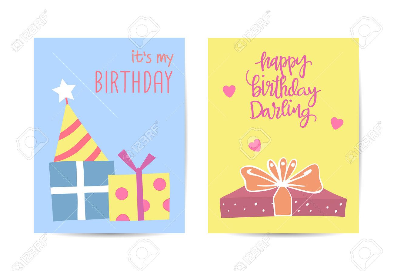 Set of birthday greeting cards design illustration - 168741449