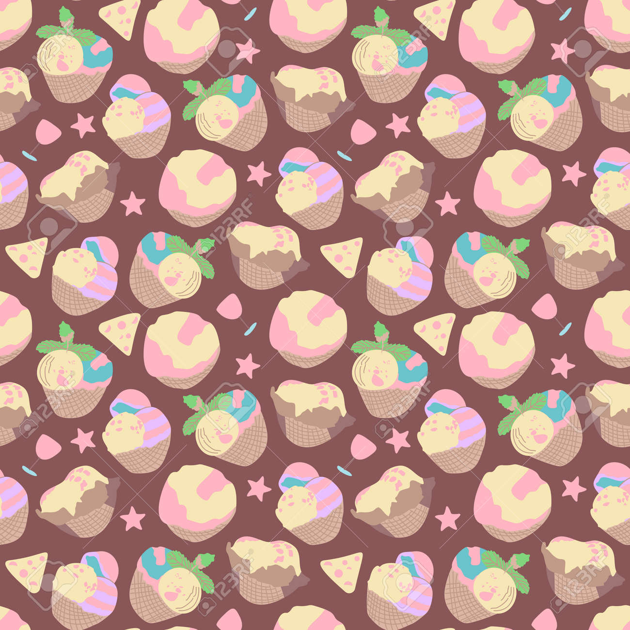 Vector seamless summer pattern, sweet desserts, ice cream. Perfect for wallpaper, surface design, textile, print. - 168741452