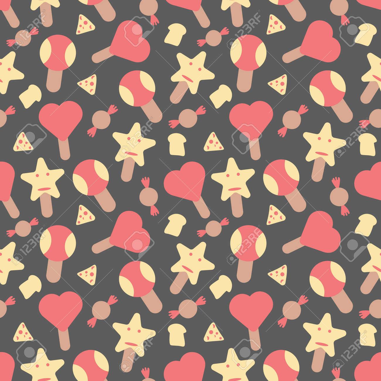 Ice cream elements seamless pattern background - 168741454