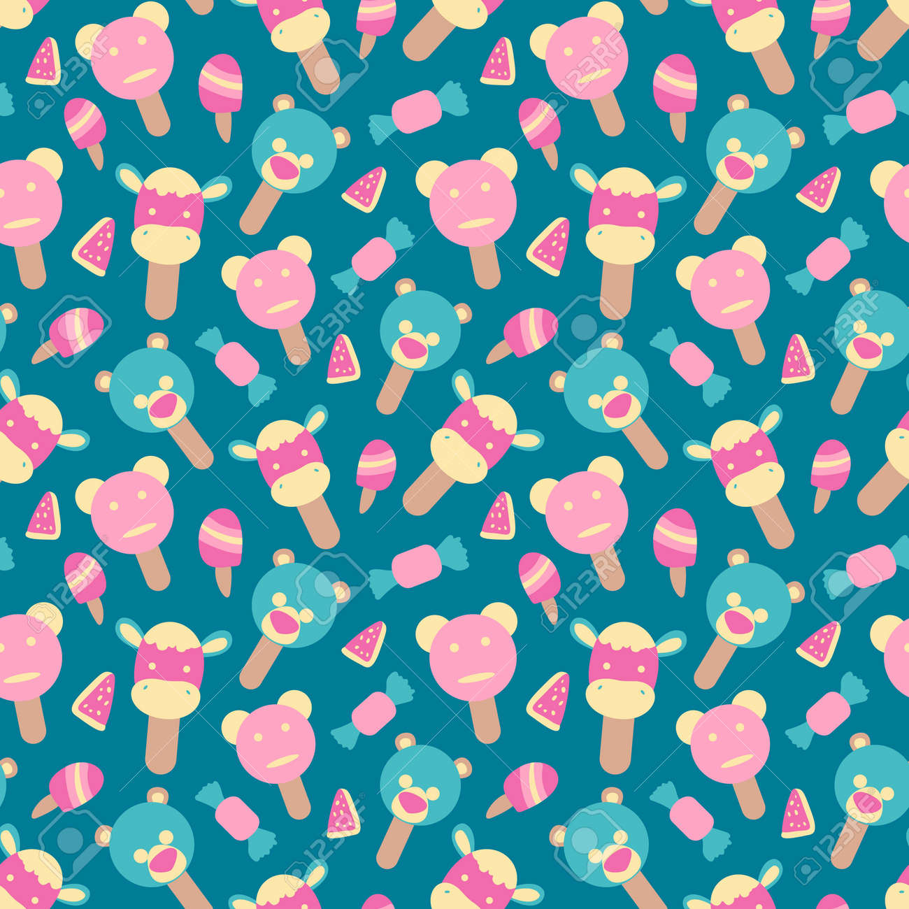 Vector seamless summer pattern with ice cream element - 168741458