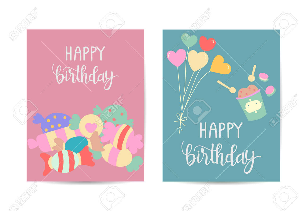 Seamless background pattern with many different colored and isolated sweets lollipops and ice cream vector illustration - 168741462