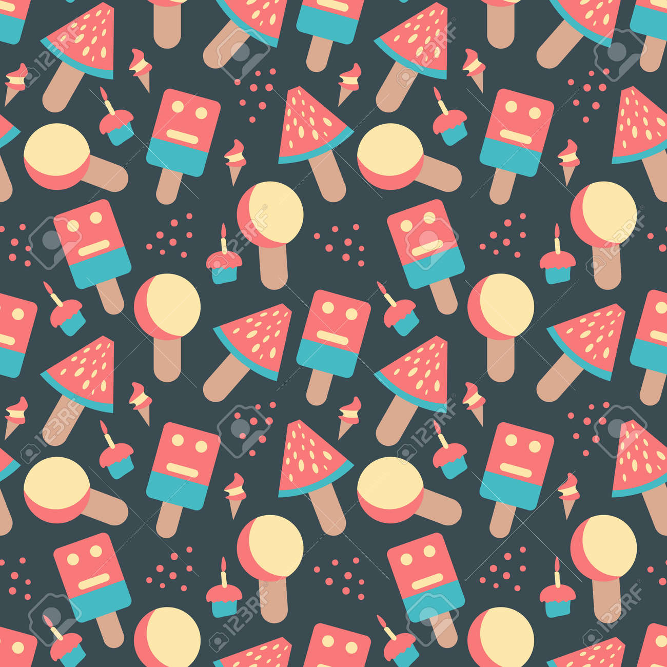 Seamless background pattern with many different colored and isolated sweets lollipops and ice cream vector illustration - 168741464